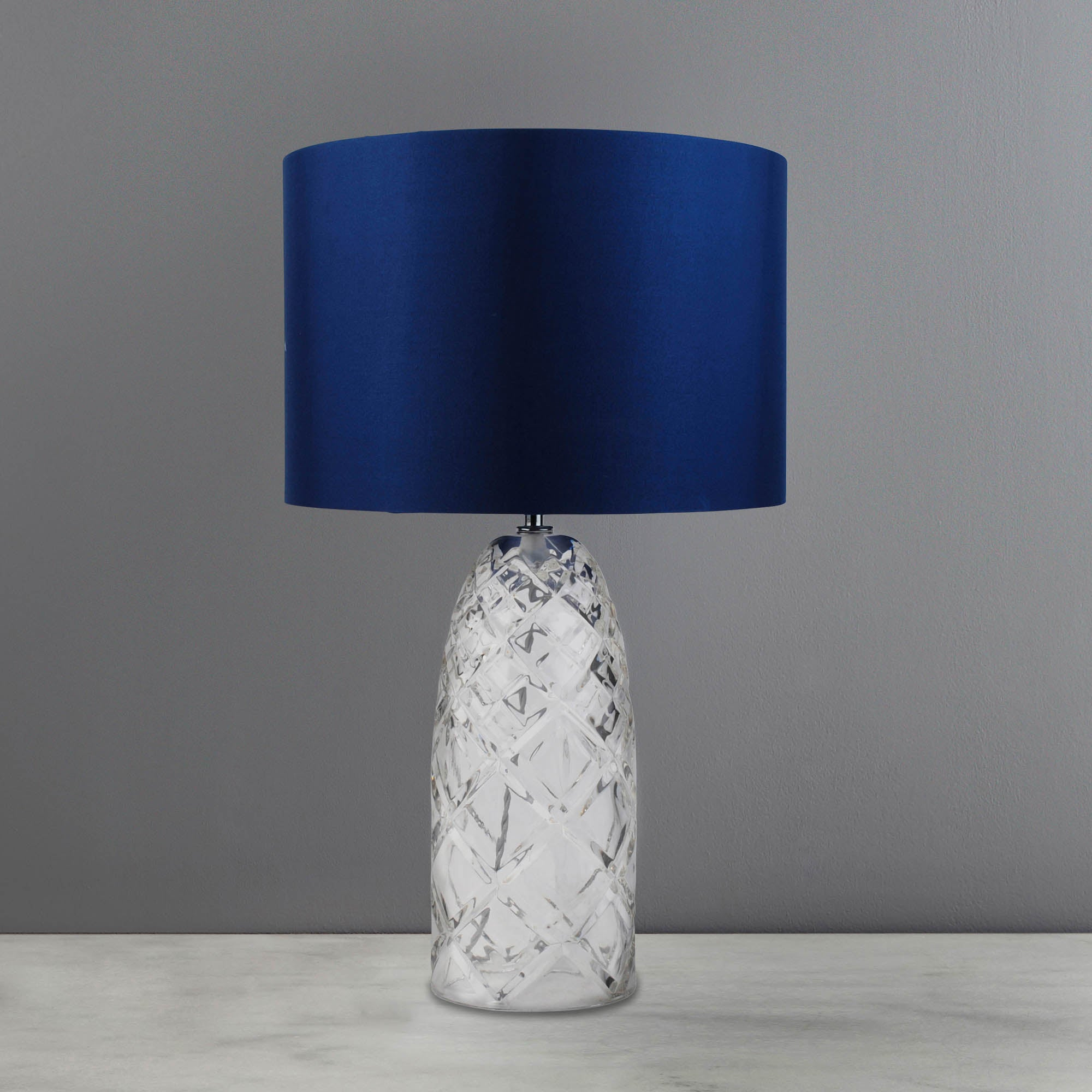 Image of 5A Fifth Avenue Milan Navy Cut Glass Table Lamp Navy