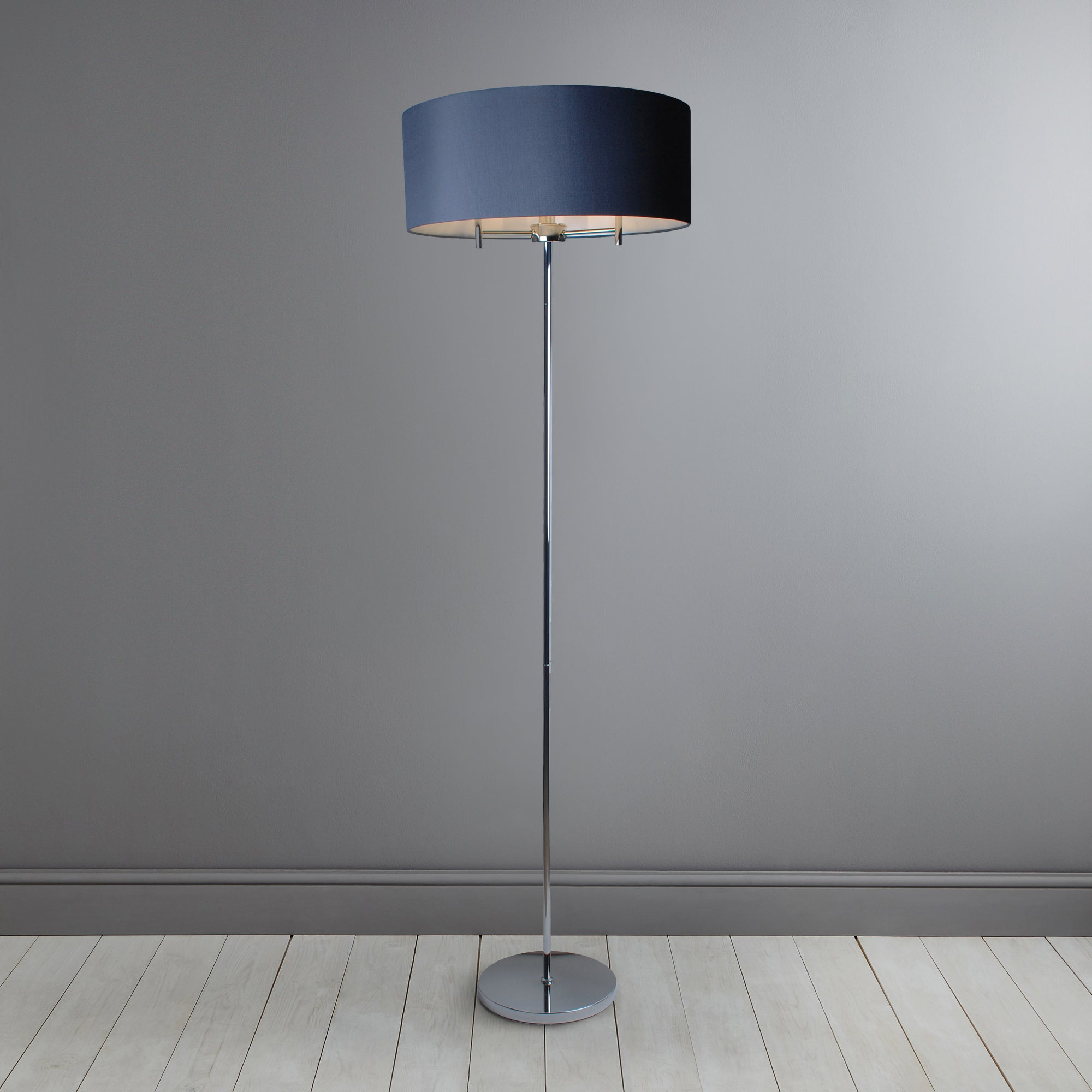 Image of 5A Fifth Avenue Edmonton Shallow Floor Lamp Nickel