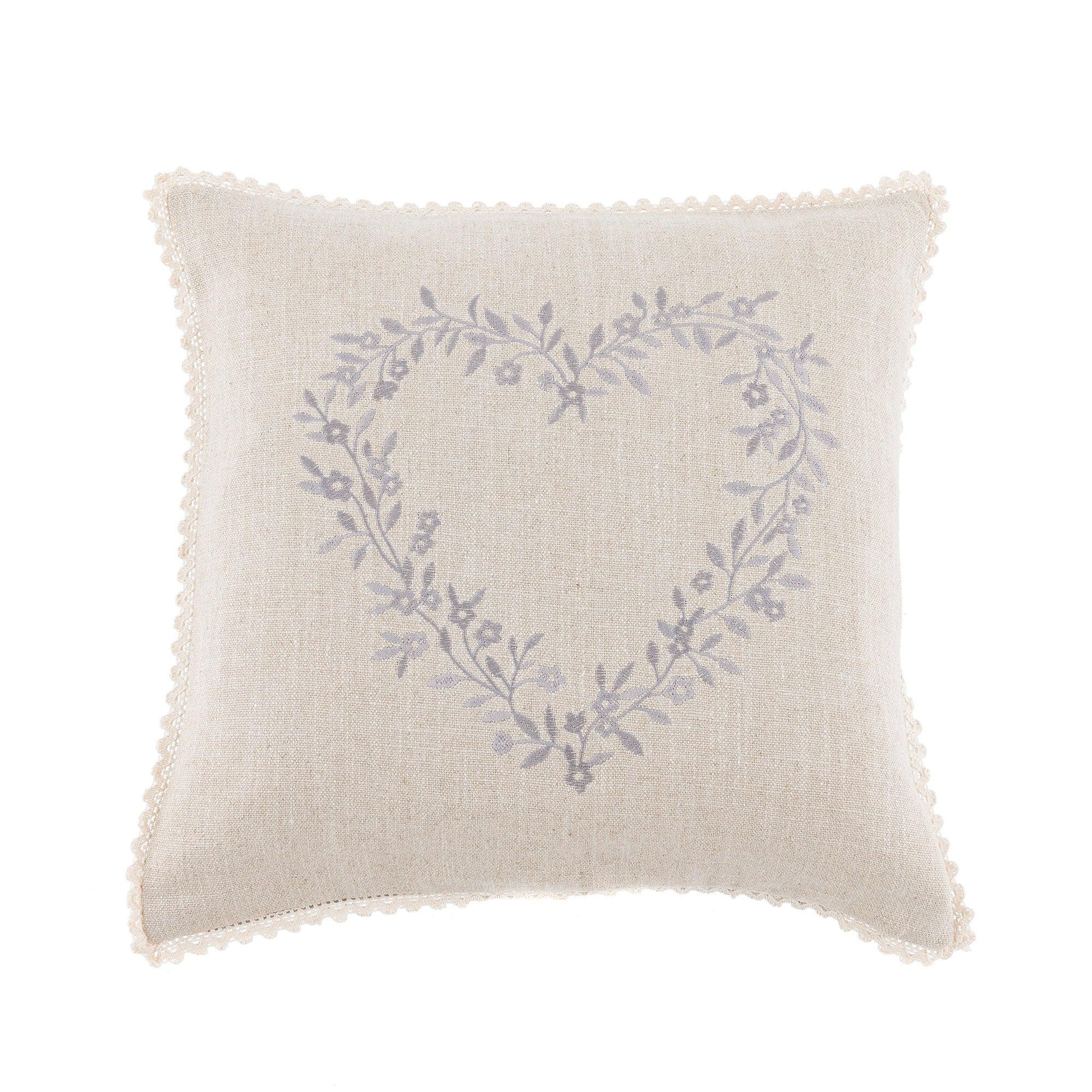 Grey Heart Wreath Cushion Grey