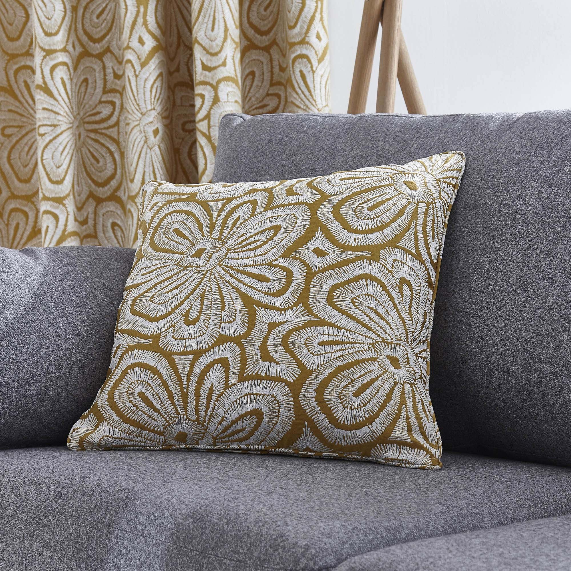 Image of Ochre Retro Flower Cushion Ochre