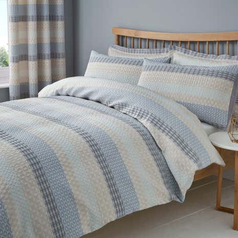 Elements Mason Grey Jacquard Duvet Cover And Pillowcase Set