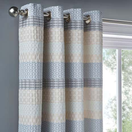 Elements Mason Jacquard Grey Blackout Eyelet Curtains