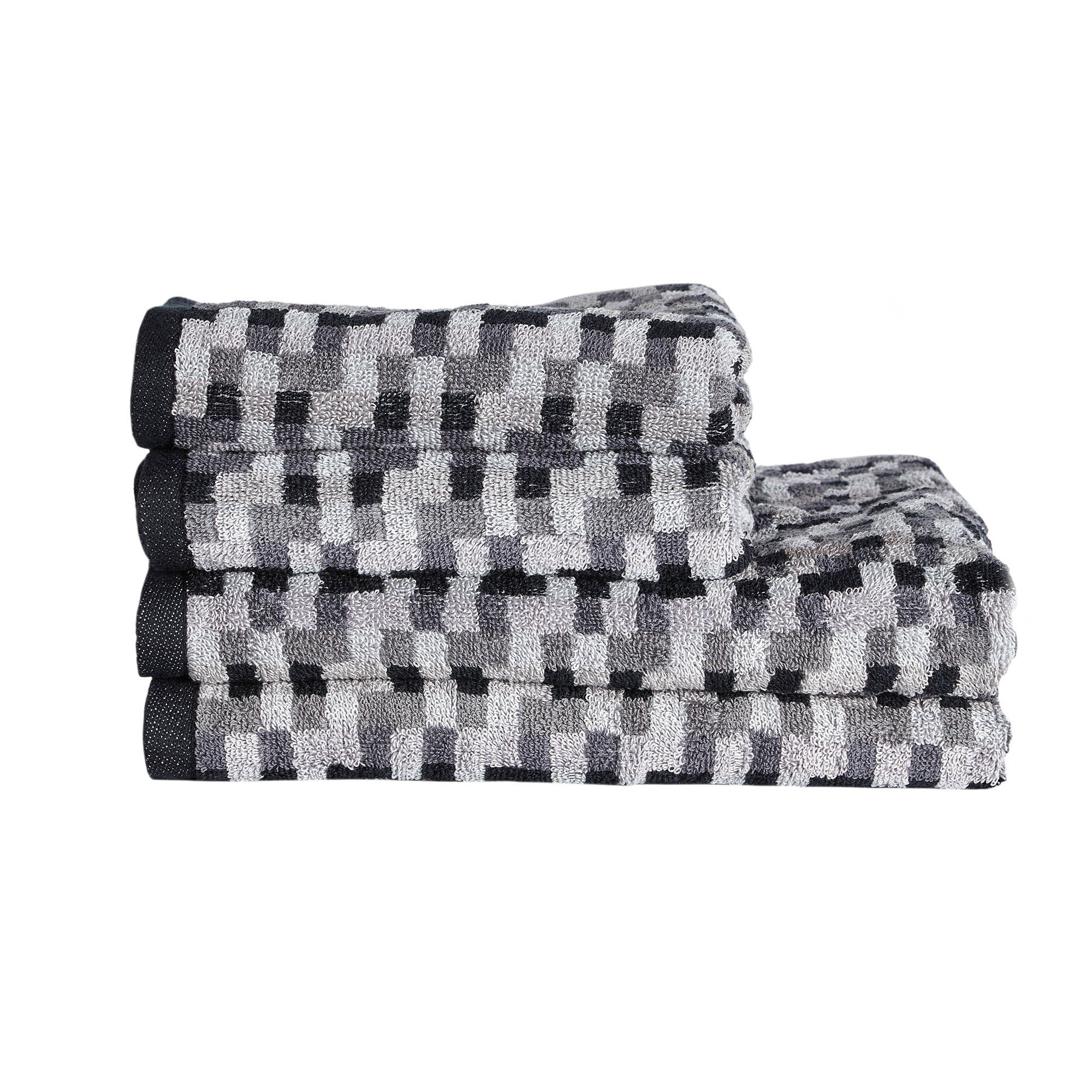 Photo of Four piece grey pixel towel bale grey