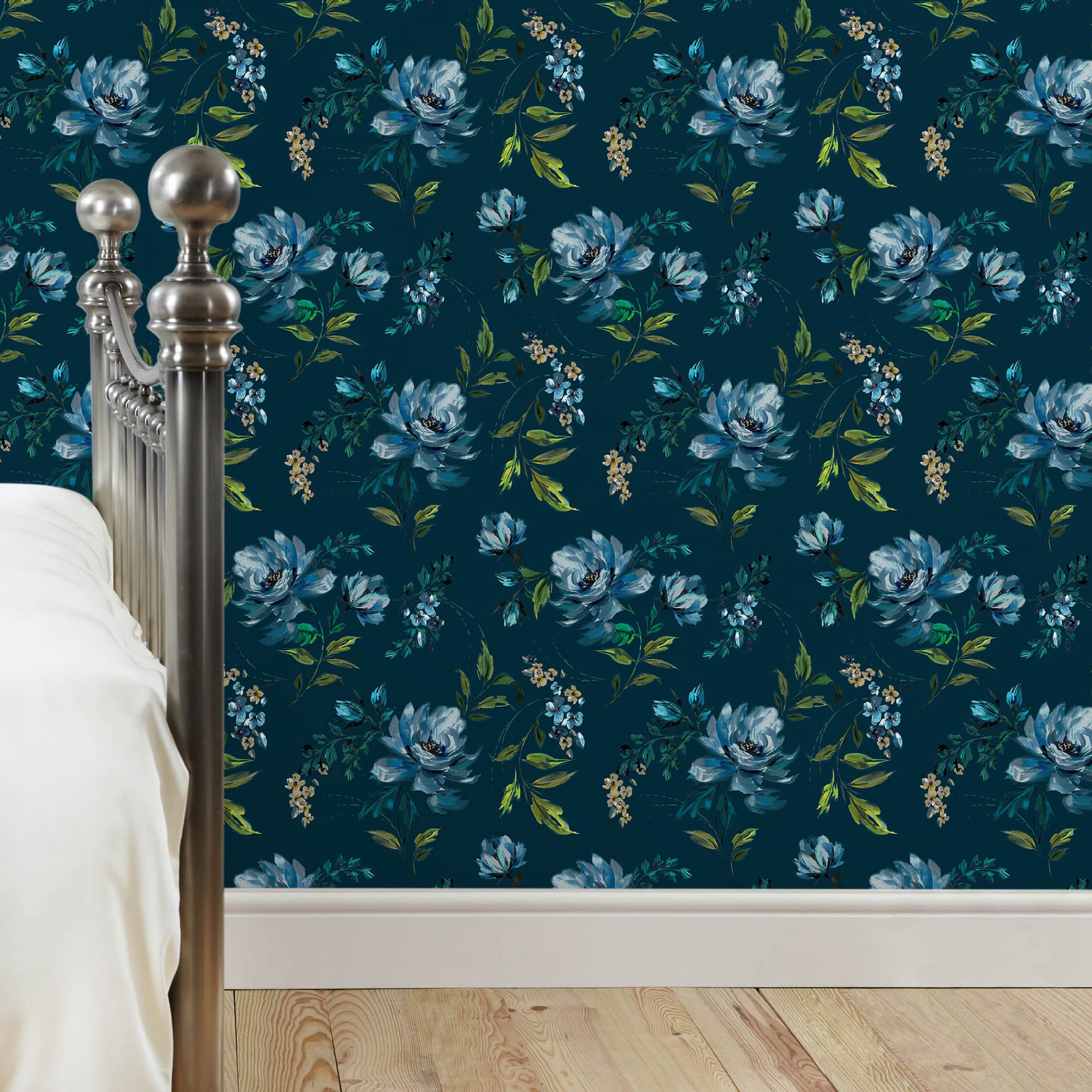 Colonial Floral Wallpaper Teal (Blue)