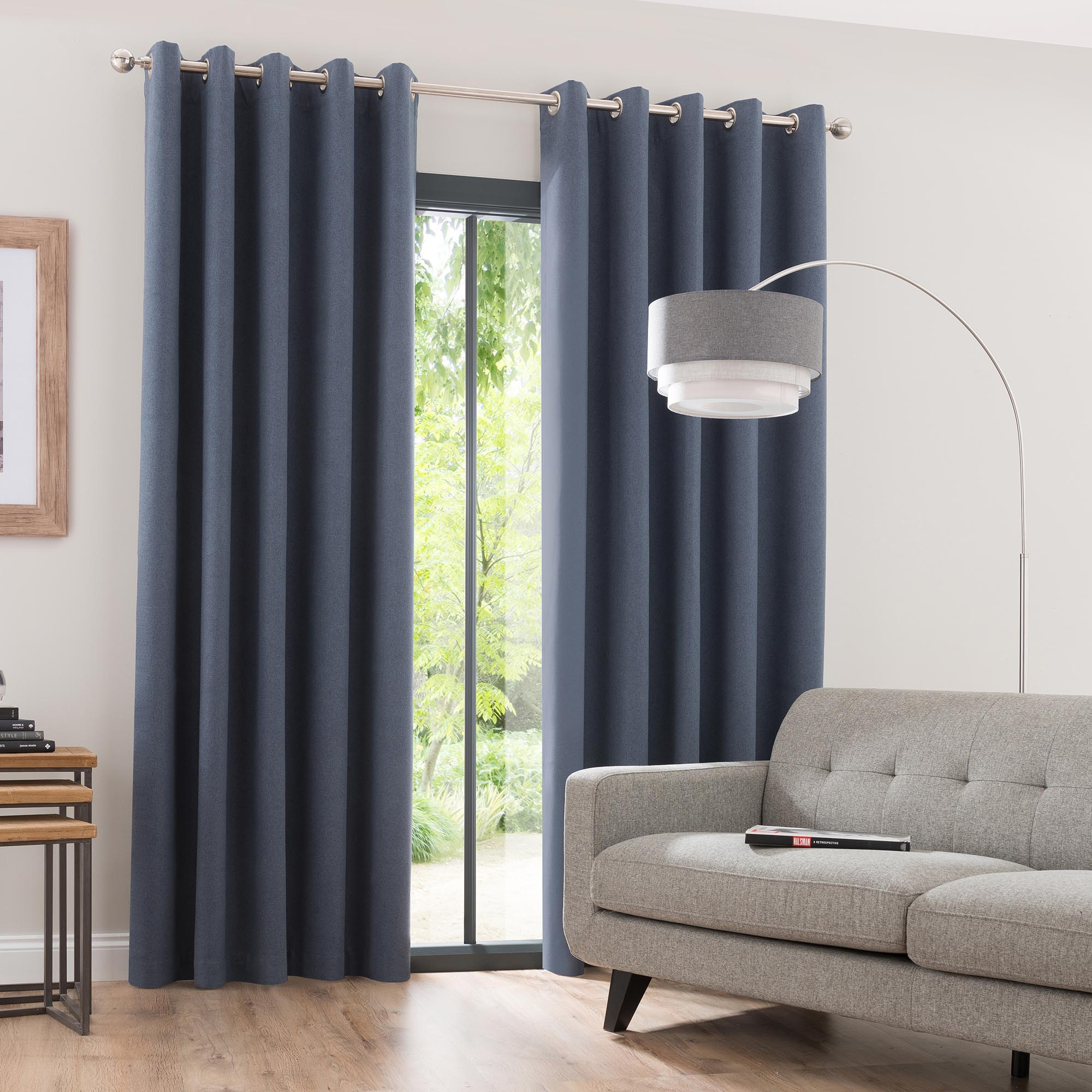 Photo of Luna brushed denim blackout eyelet curtains denim