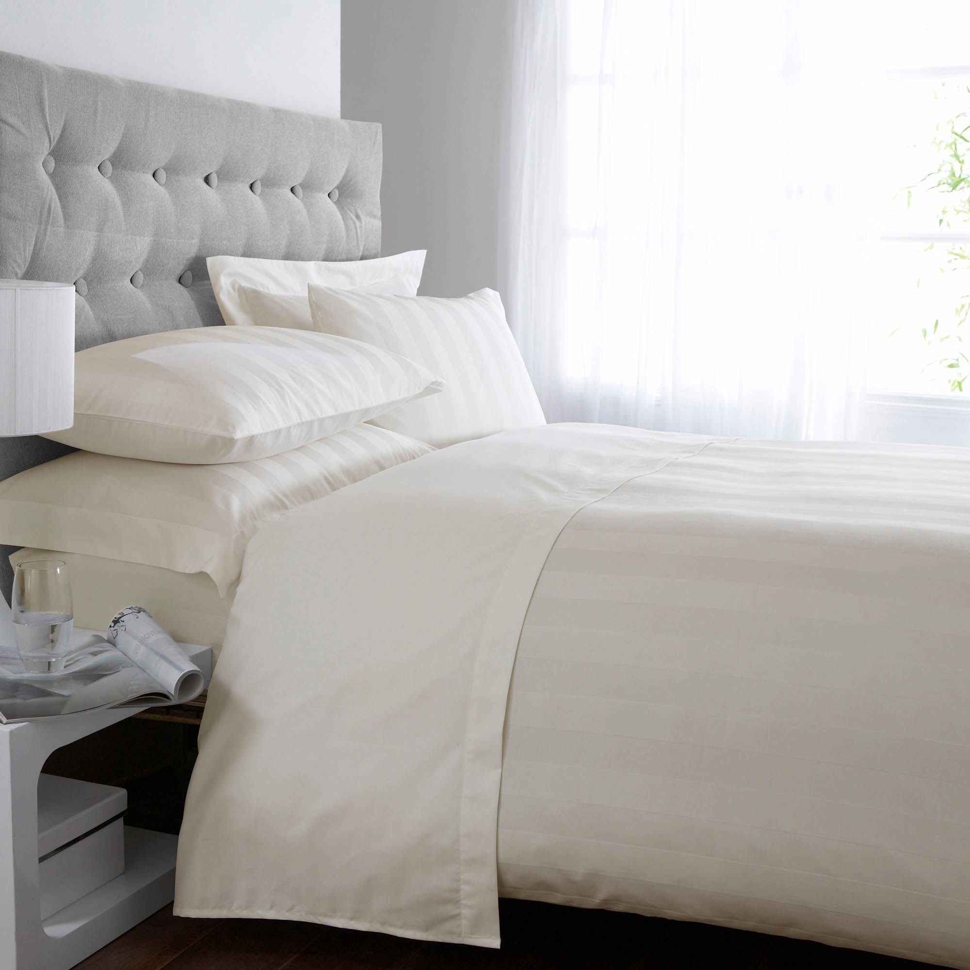 Image of 5A Fifth Avenue Egyptian Cotton 300 Thread Count Stripe Cream Duvet Cover Cream