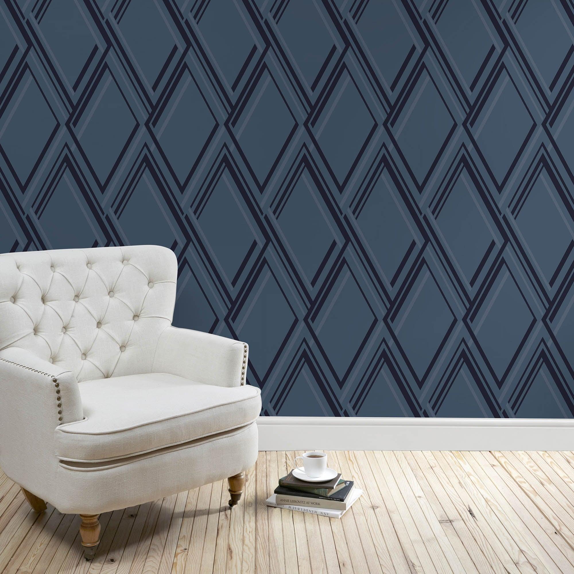 5A Fifth Avenue Midnight Blue Geo Wallpaper Midnight (Blue)