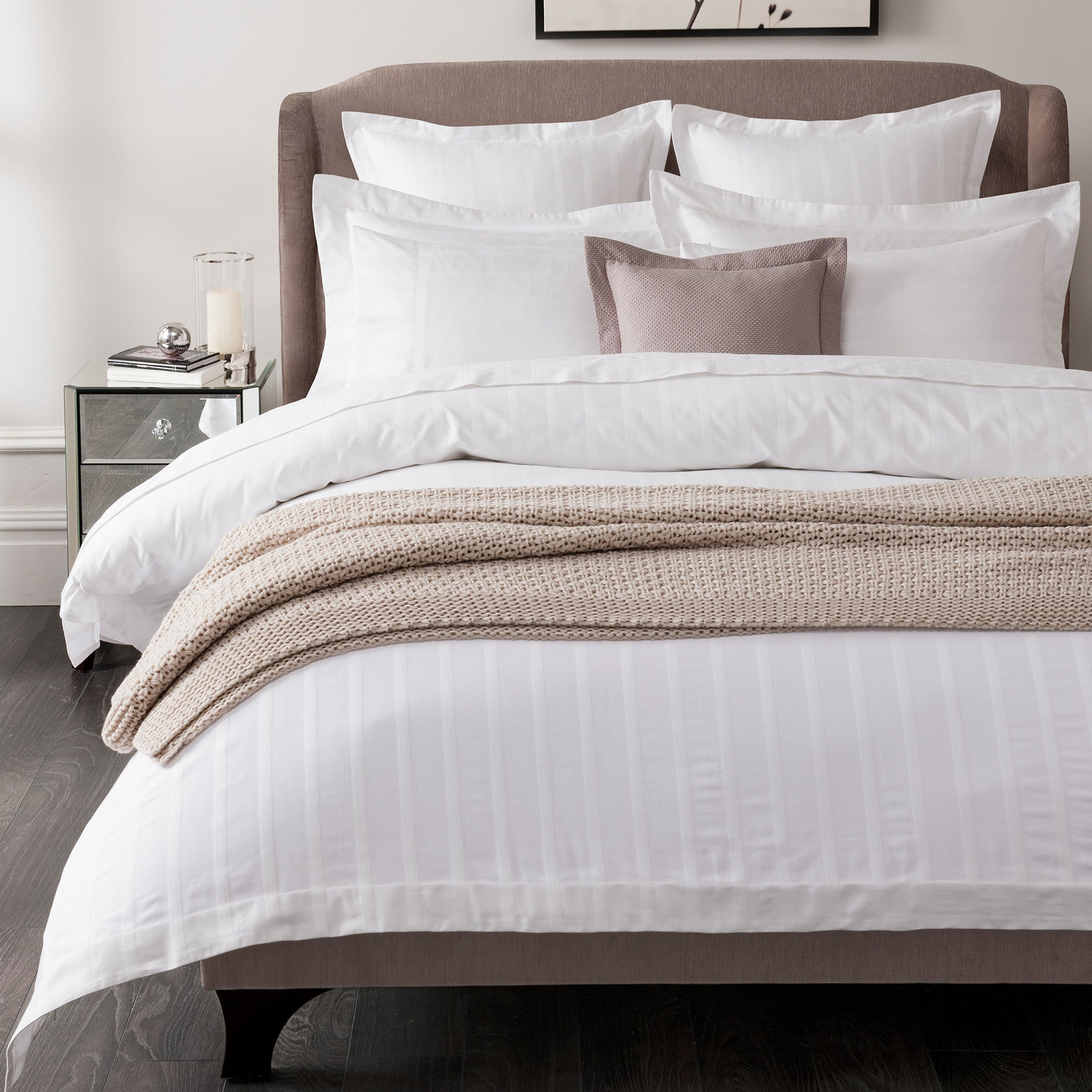 Image of 5A Fifth Avenue Herringbone 300 Thread Count 100% Cotton White Duvet Cover White