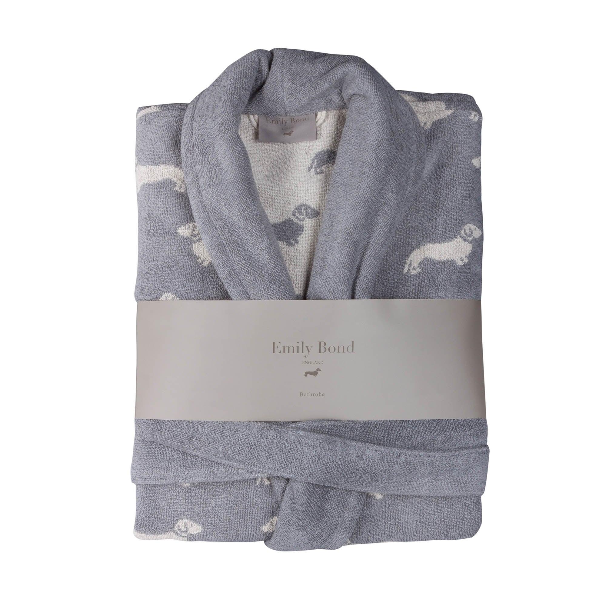Emily Bond Grey Dachshund Cotton Bathrobe Grey
