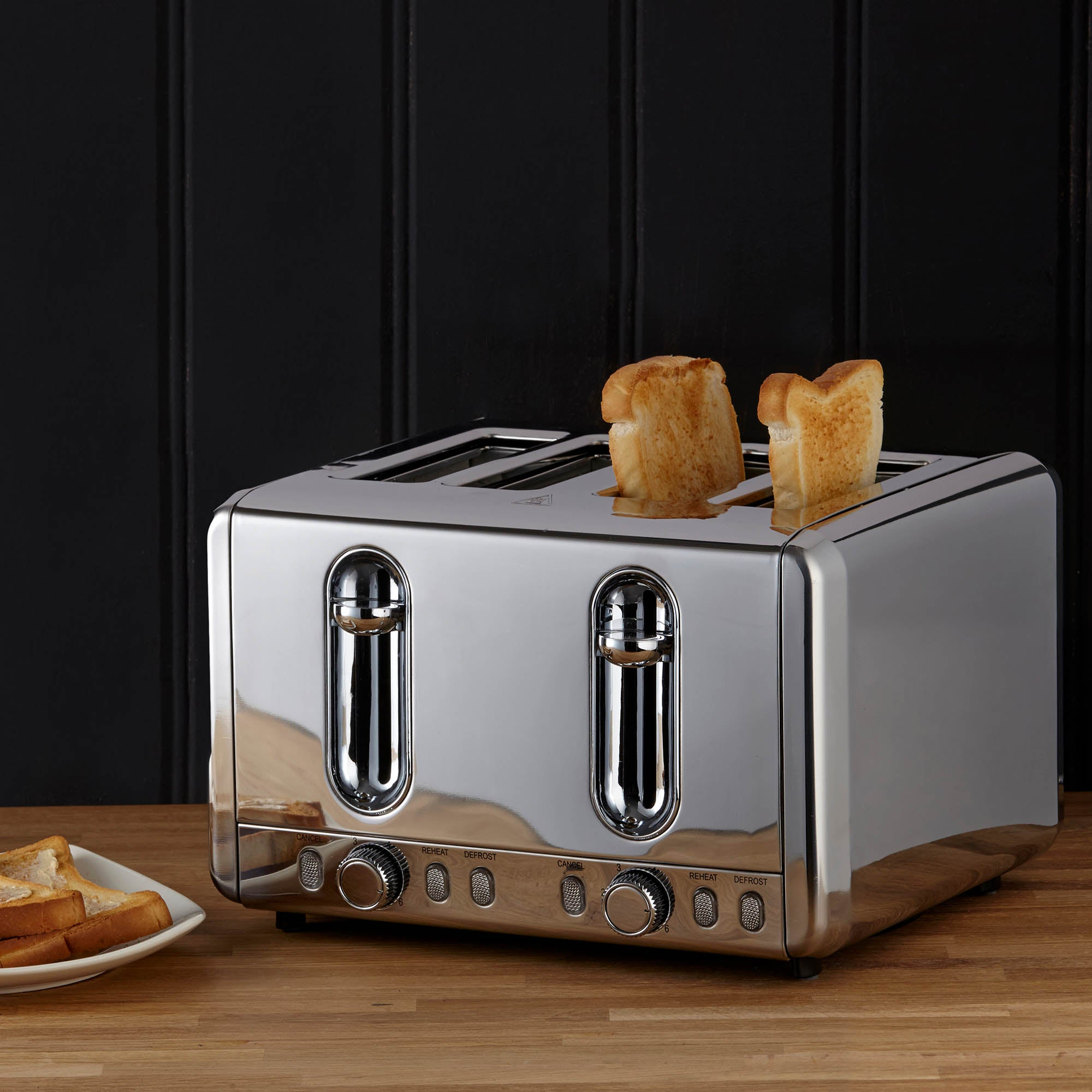 Photo of Dunelm polished stainless steel 4 slice toaster silver