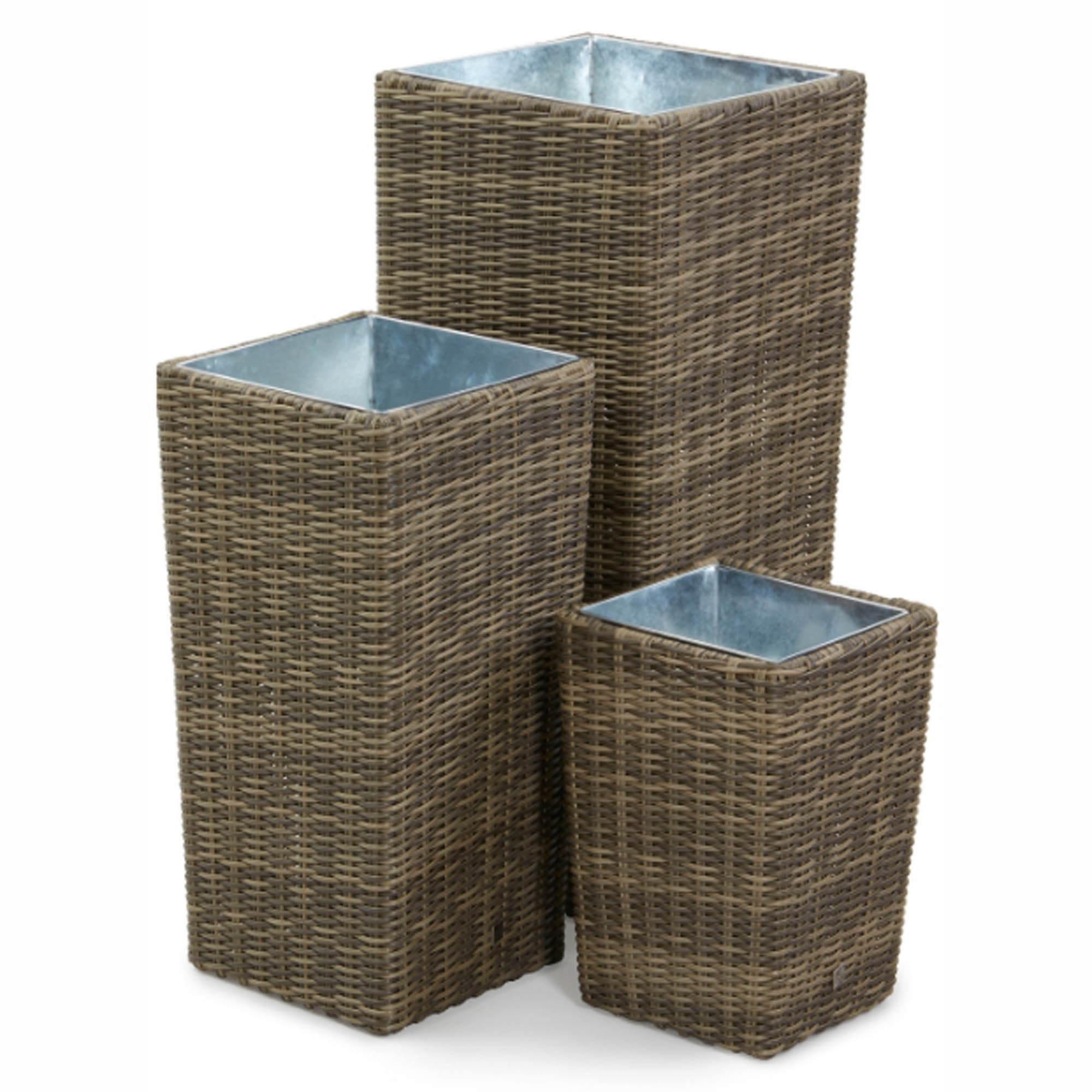 Image of Winchester Set of 3 Tall Planters Brown