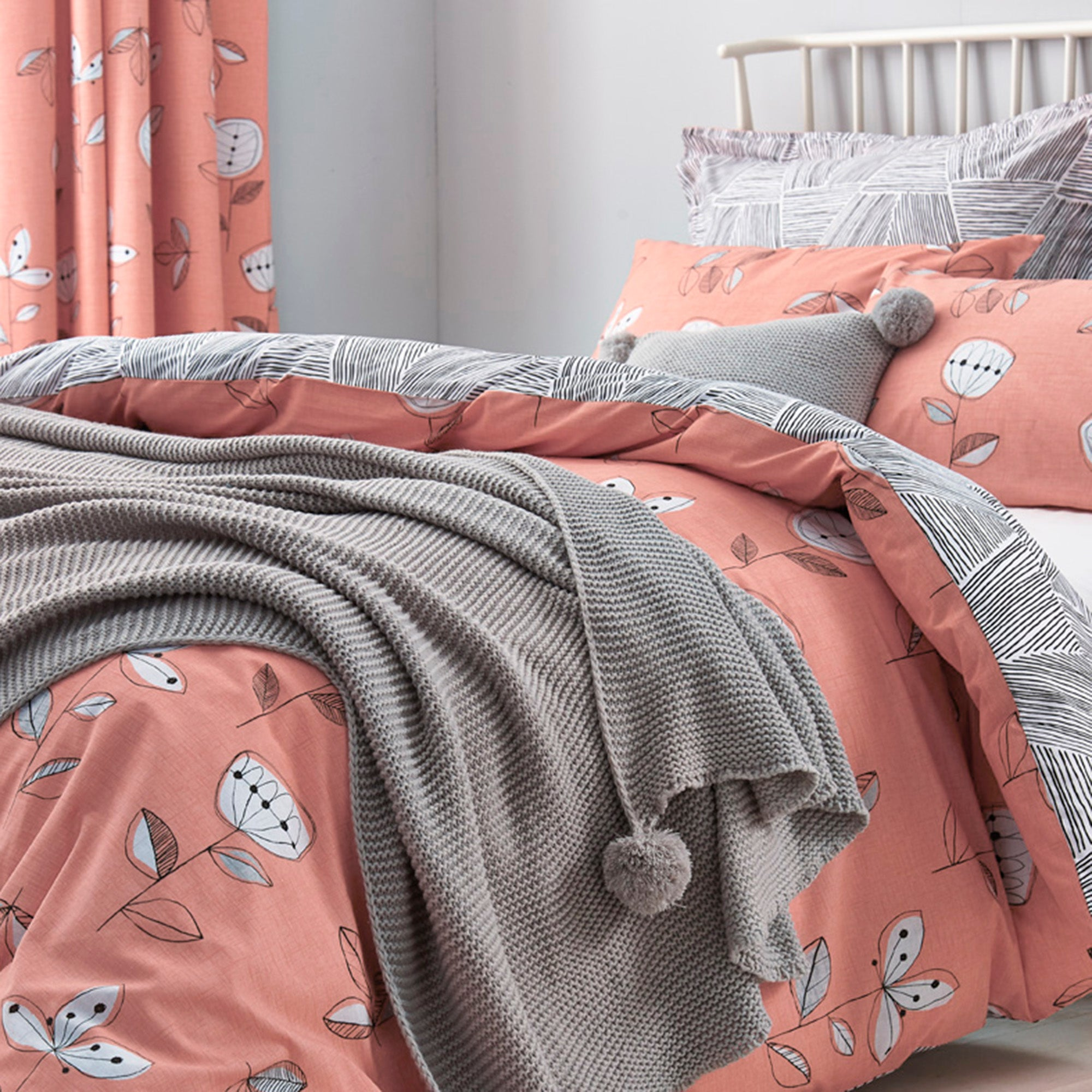 Image of Elements Sunflower Coral Reversible Duvet Cover and Pillowcase Set Coral