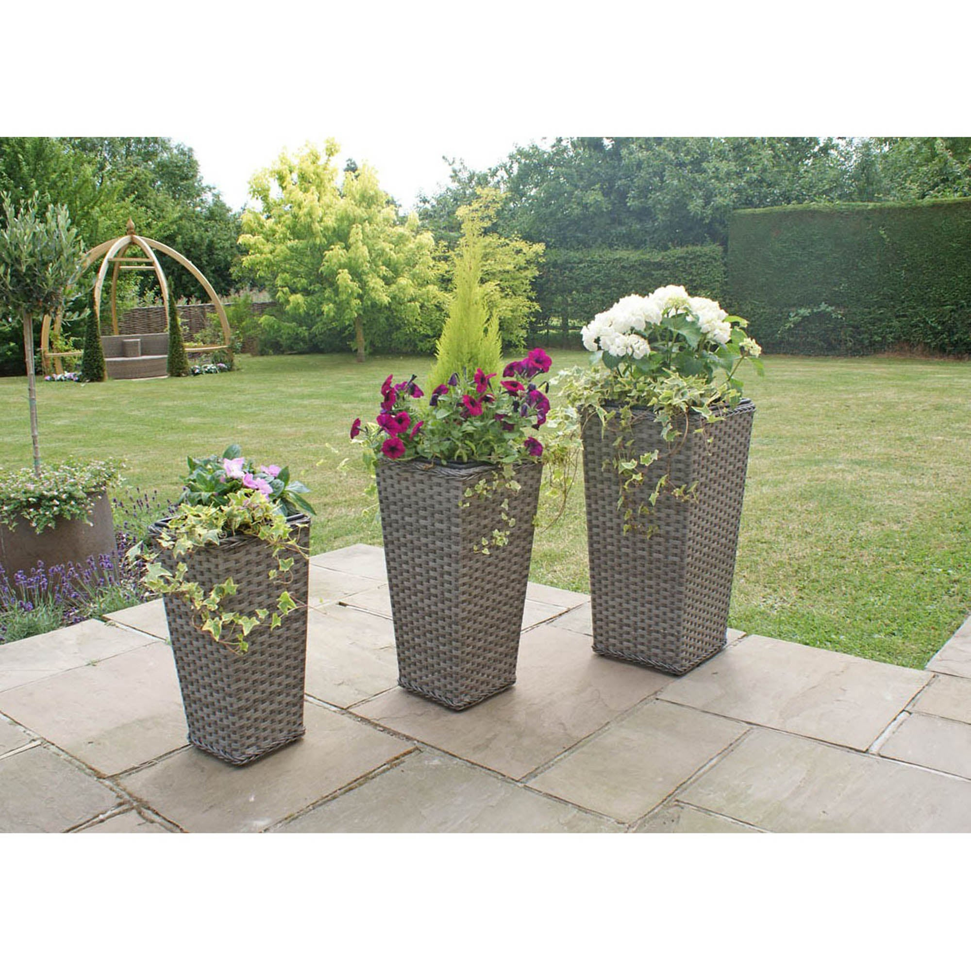Image of Maze Rattan Victoria Set of 3 Tall Planters Brown