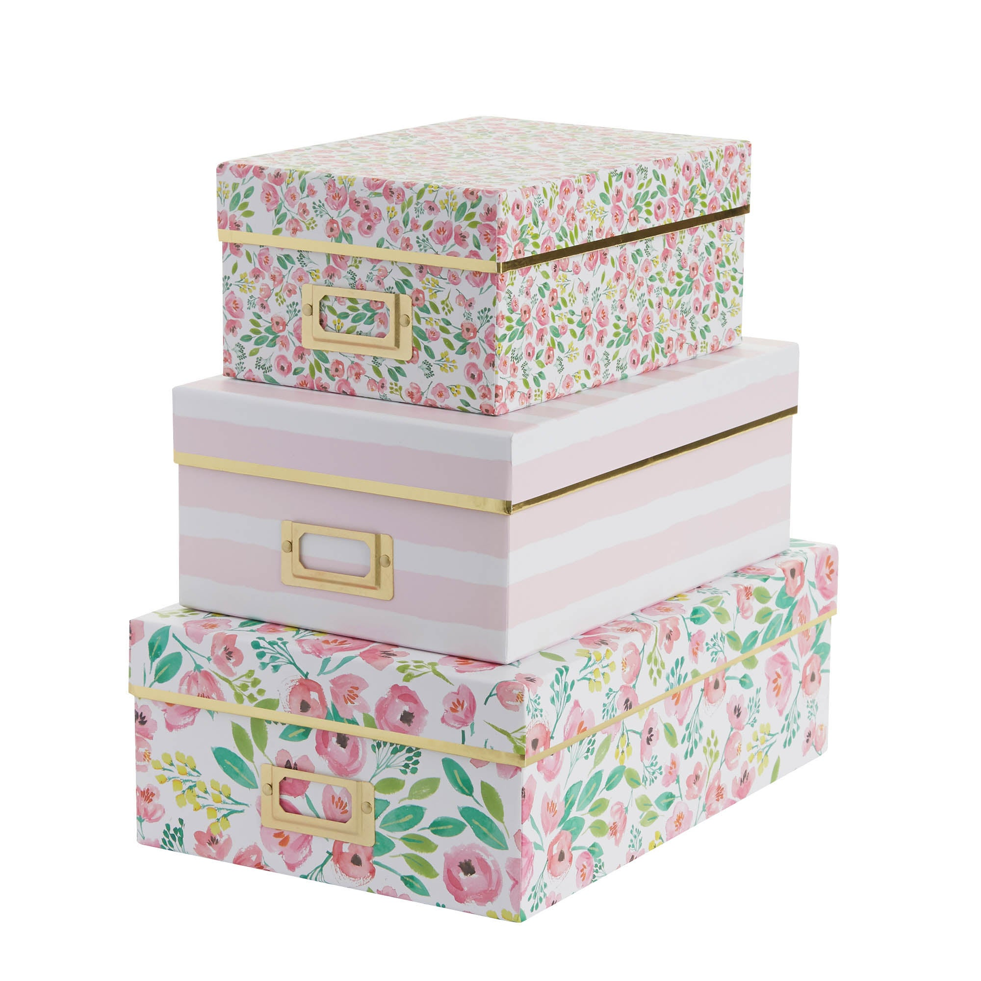 Image of Set of 3 Pink Flower Boxes Pink