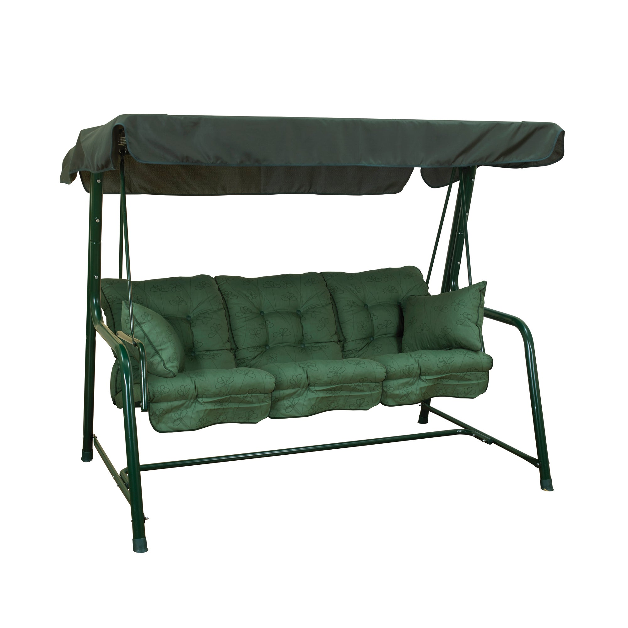Glendale 3 Seater Swing Seat in Green Check Green