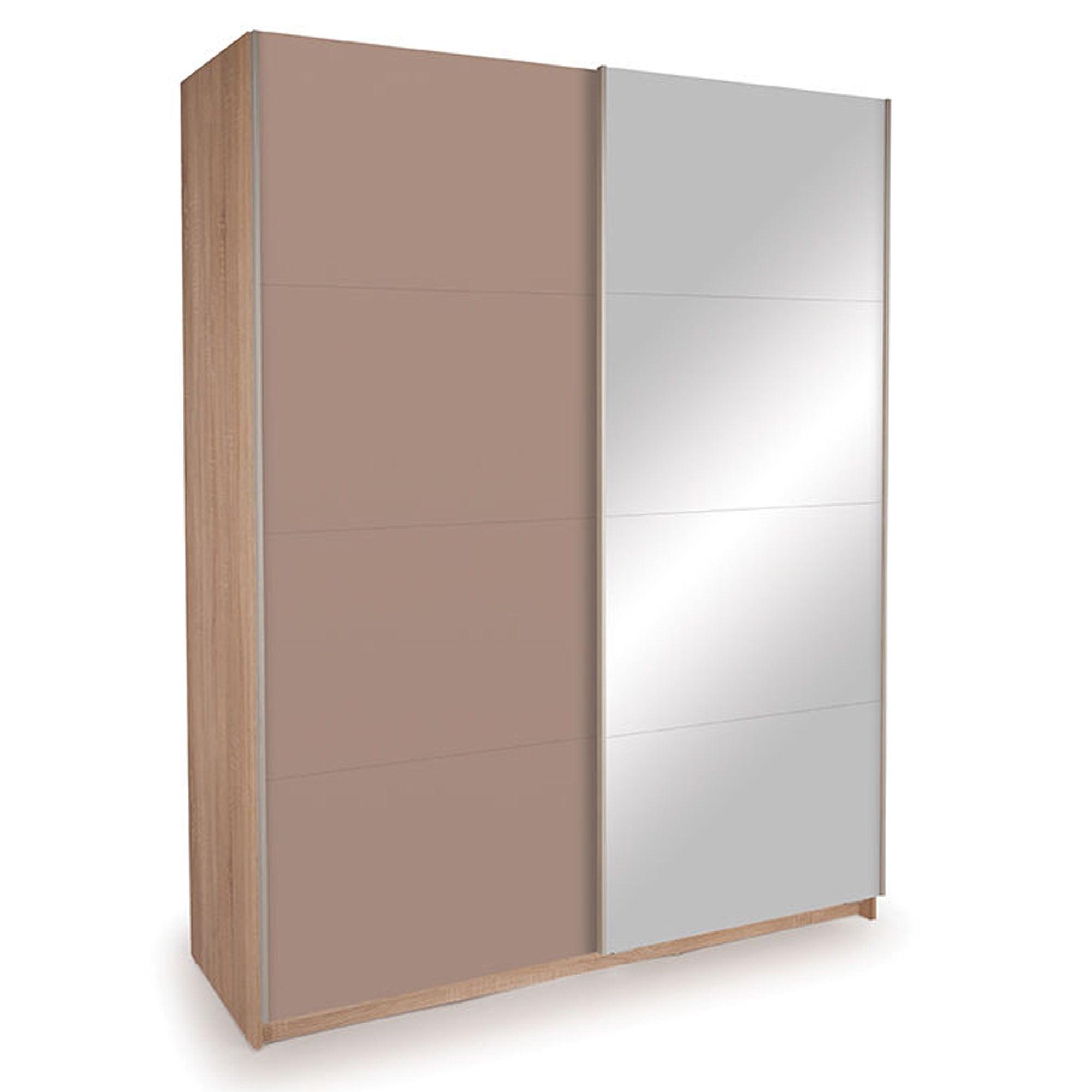 Photo of Ellum natural mirrored sliding wardrobe putty -natural-