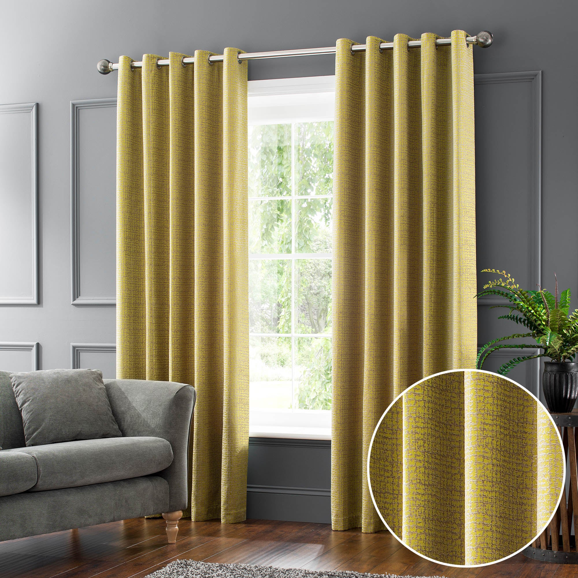 Newby Chartreuse Jacquard Eyelet Curtains Yellow