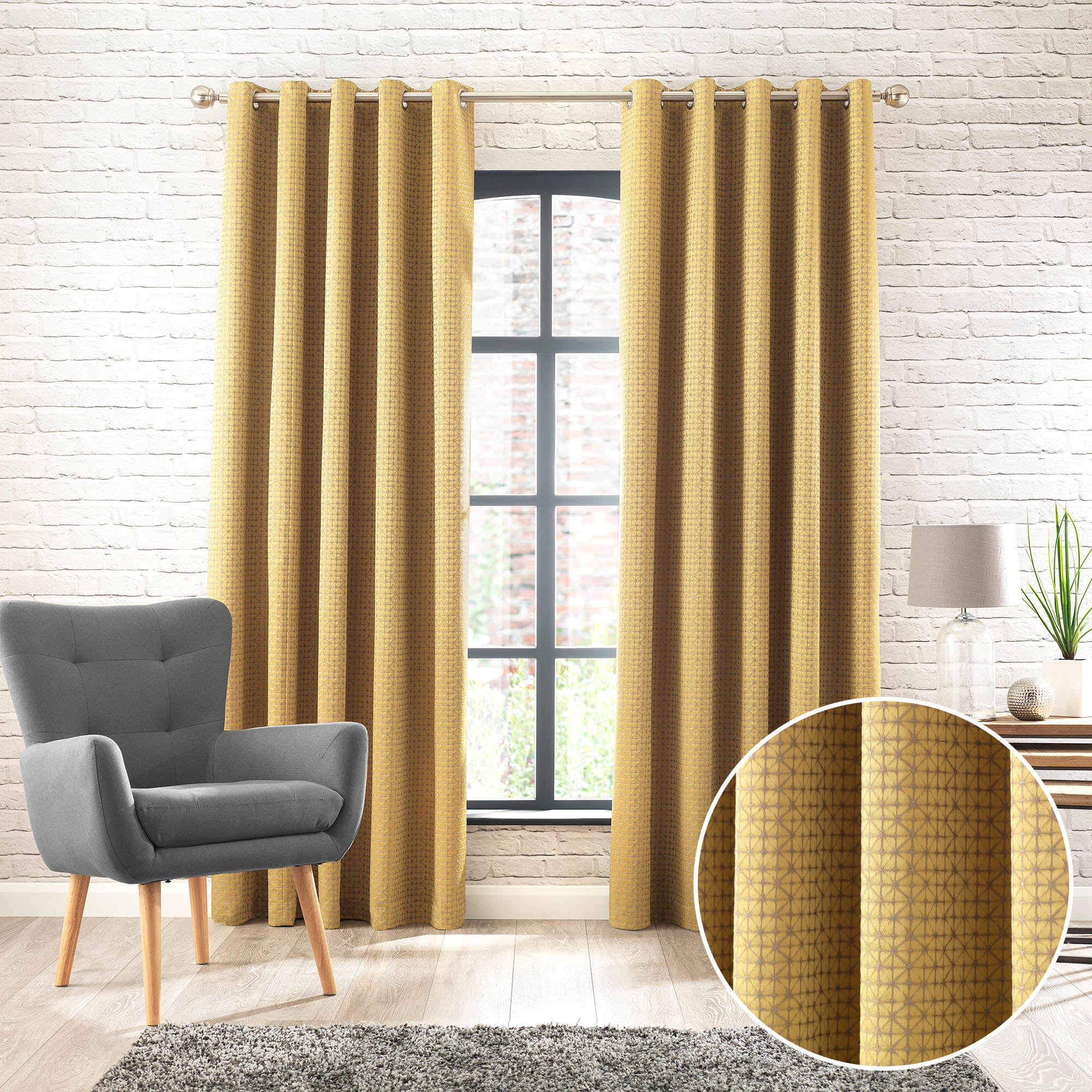 Samaitra Chartreuse Jacquard Eyelet Curtains Yellow