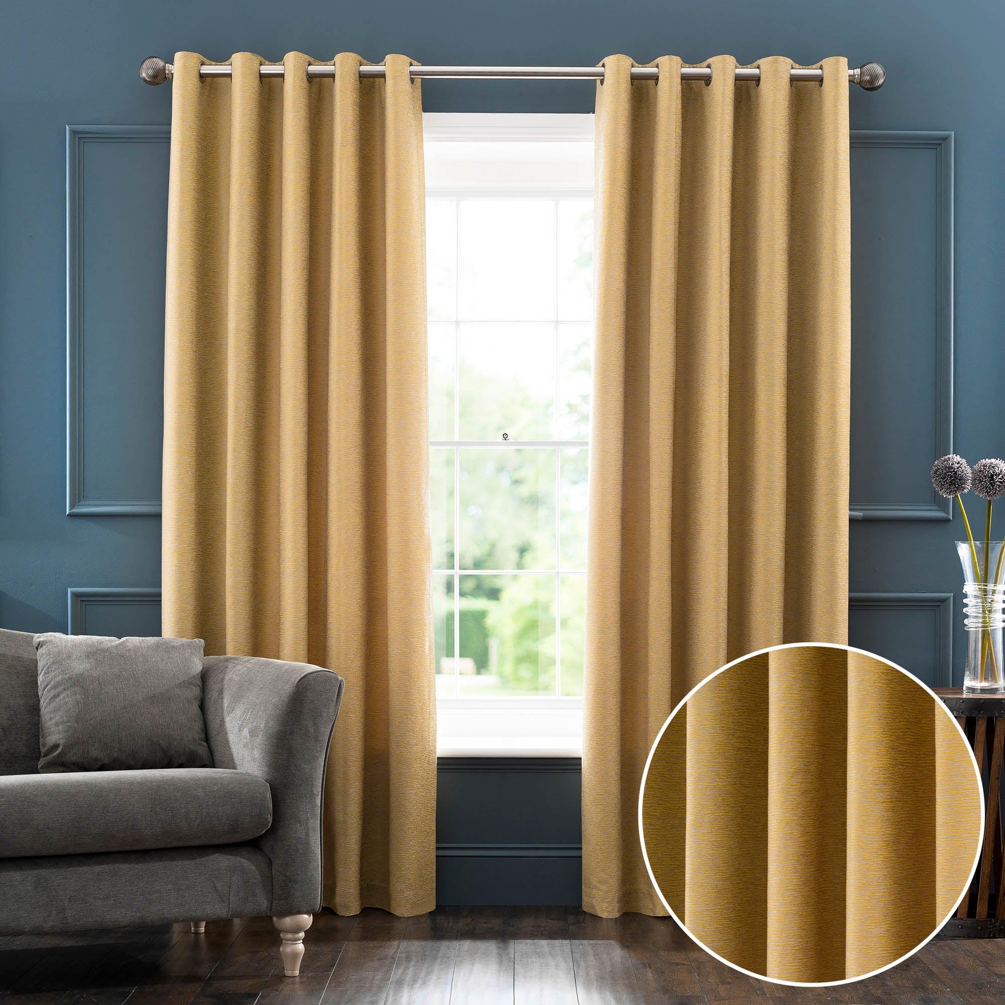 Sarasota Yellow Eyelet Curtains Yellow