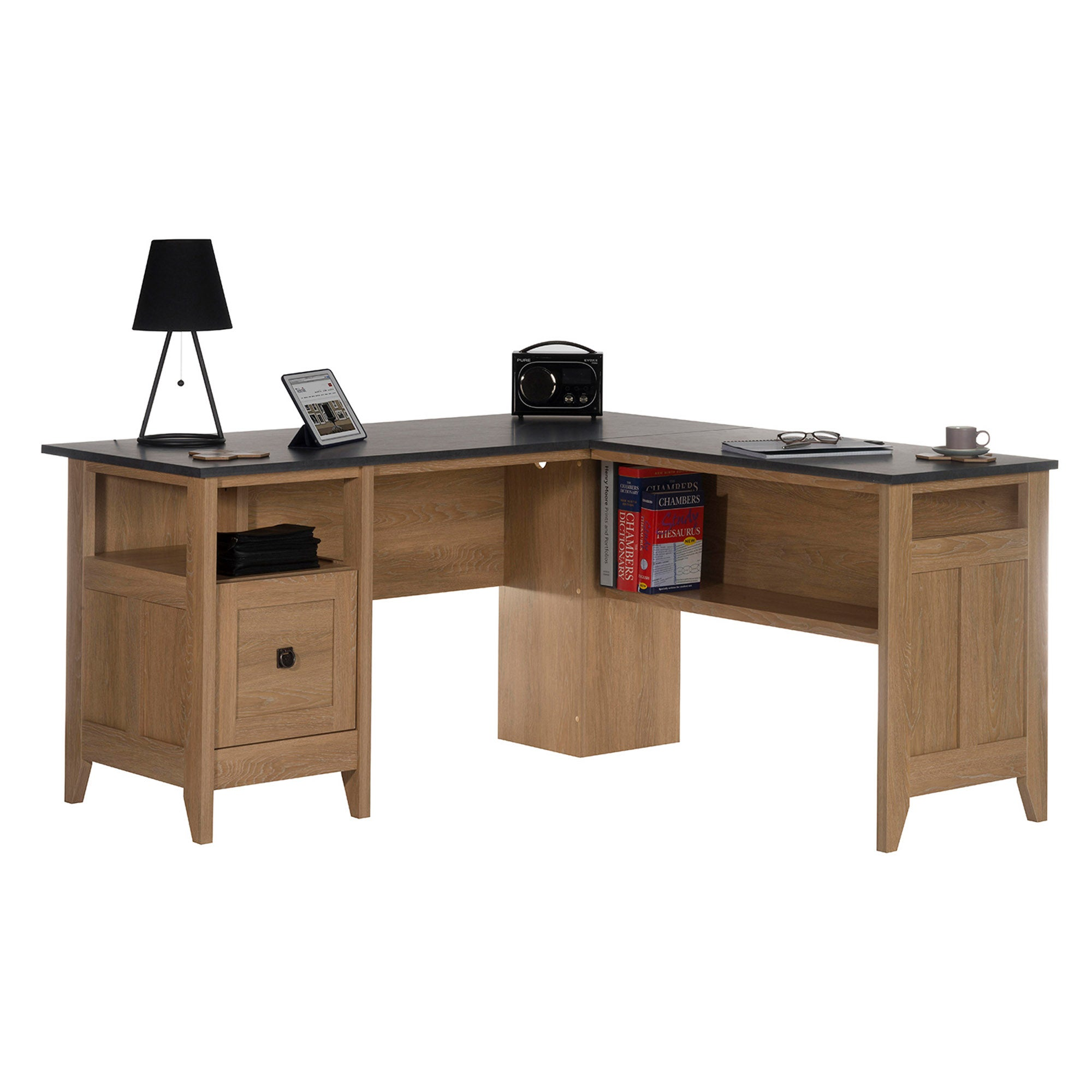 Home Study L Shaped Desk Natural