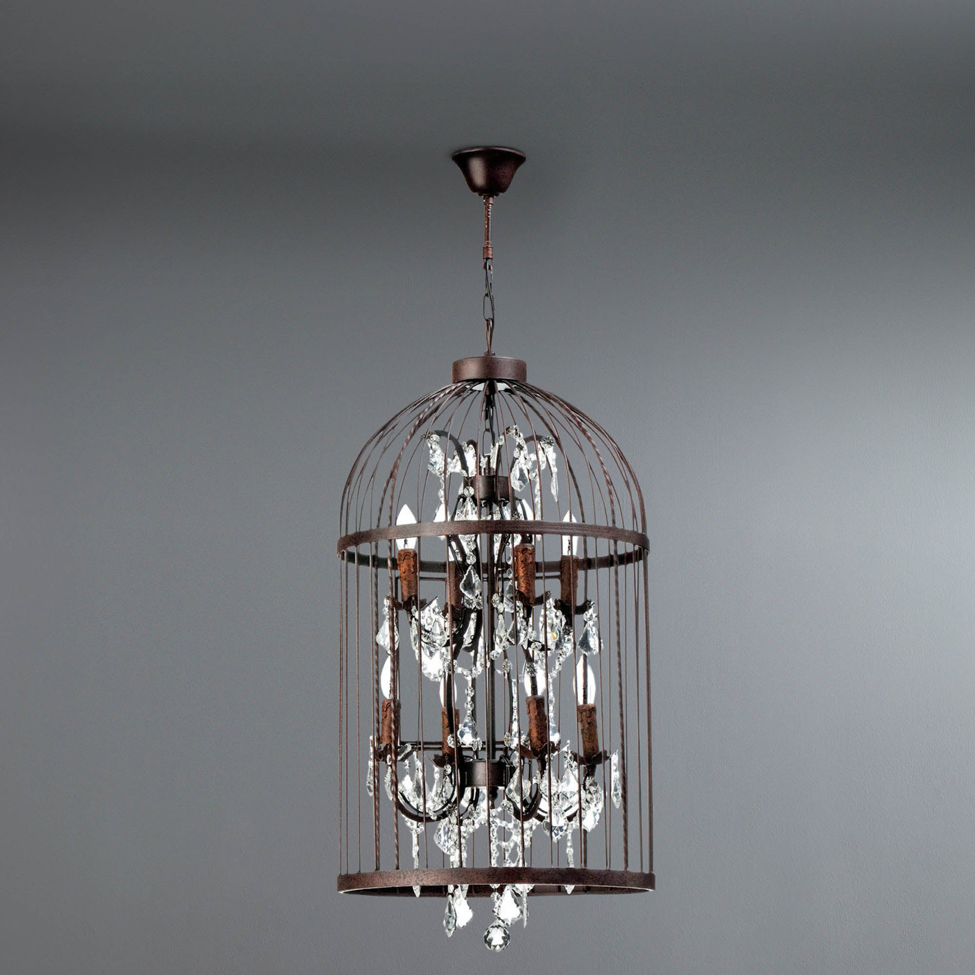 Antique Birdcage Pendant Light Brown