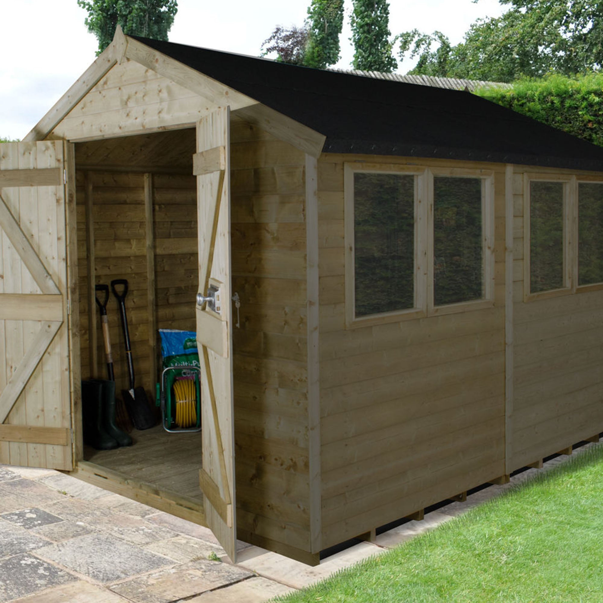 Image of 10ft x 8ft Apex Pressure Treated Shed Brown
