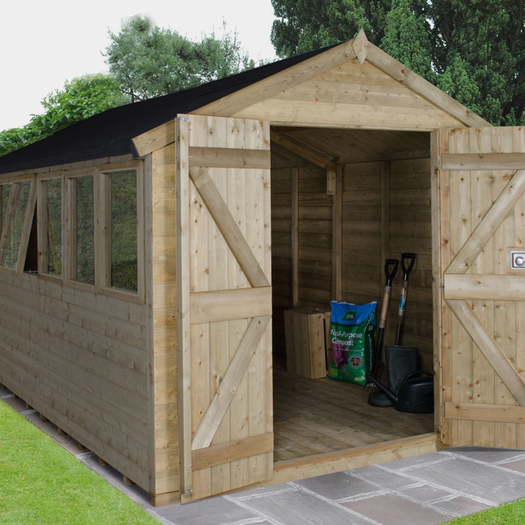 Image of 12ft x 8ft Apex Pressure Treated Shed Brown