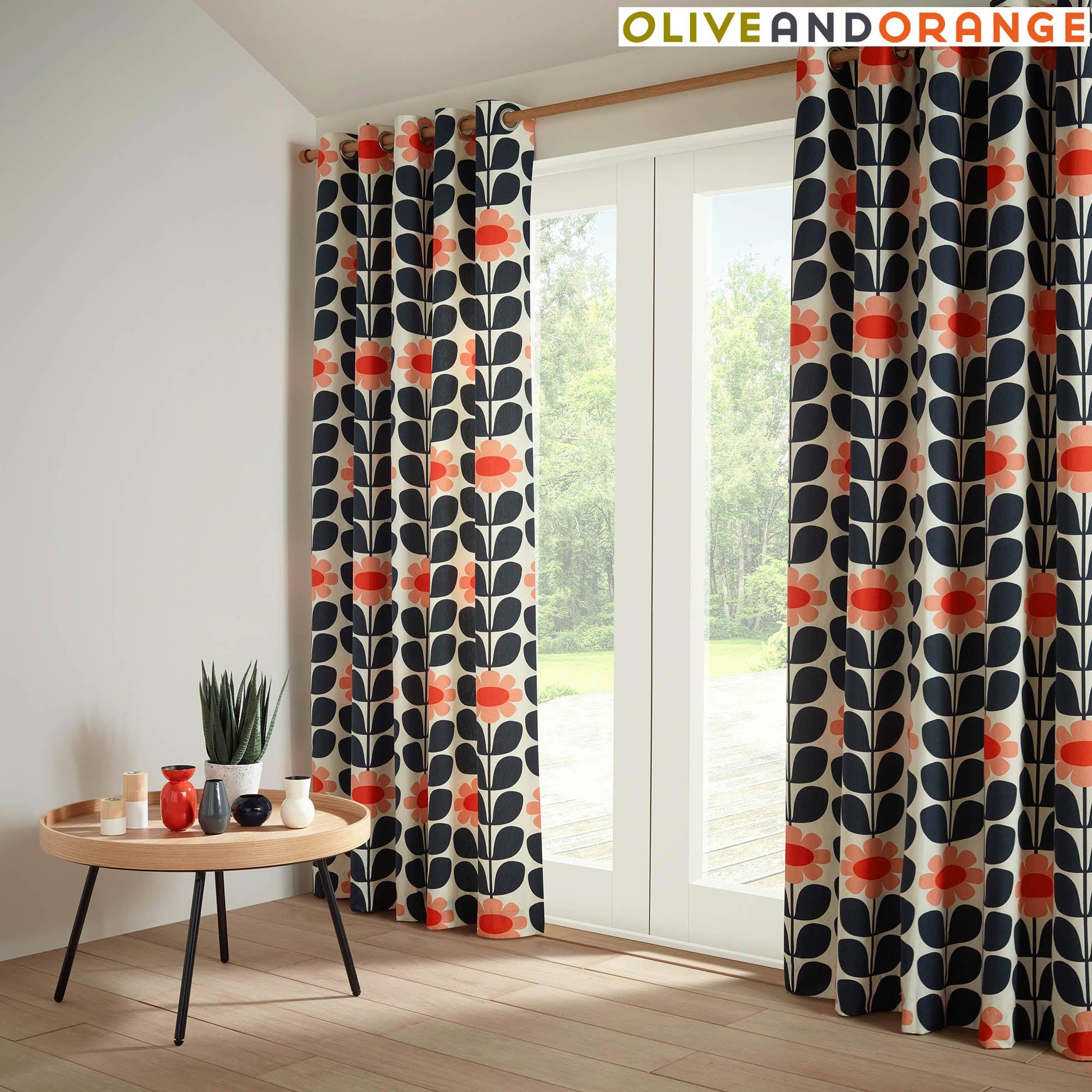 Image of Olive & Orange Tall Flower Blush Lined Eyelet Curtains Blush