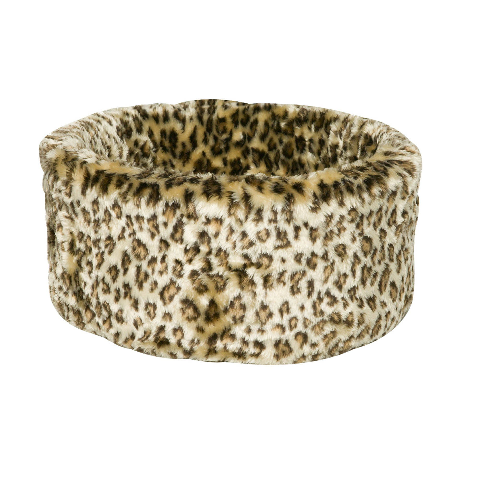 Leopard Print Cosy Cat Bed Almond (Cream)