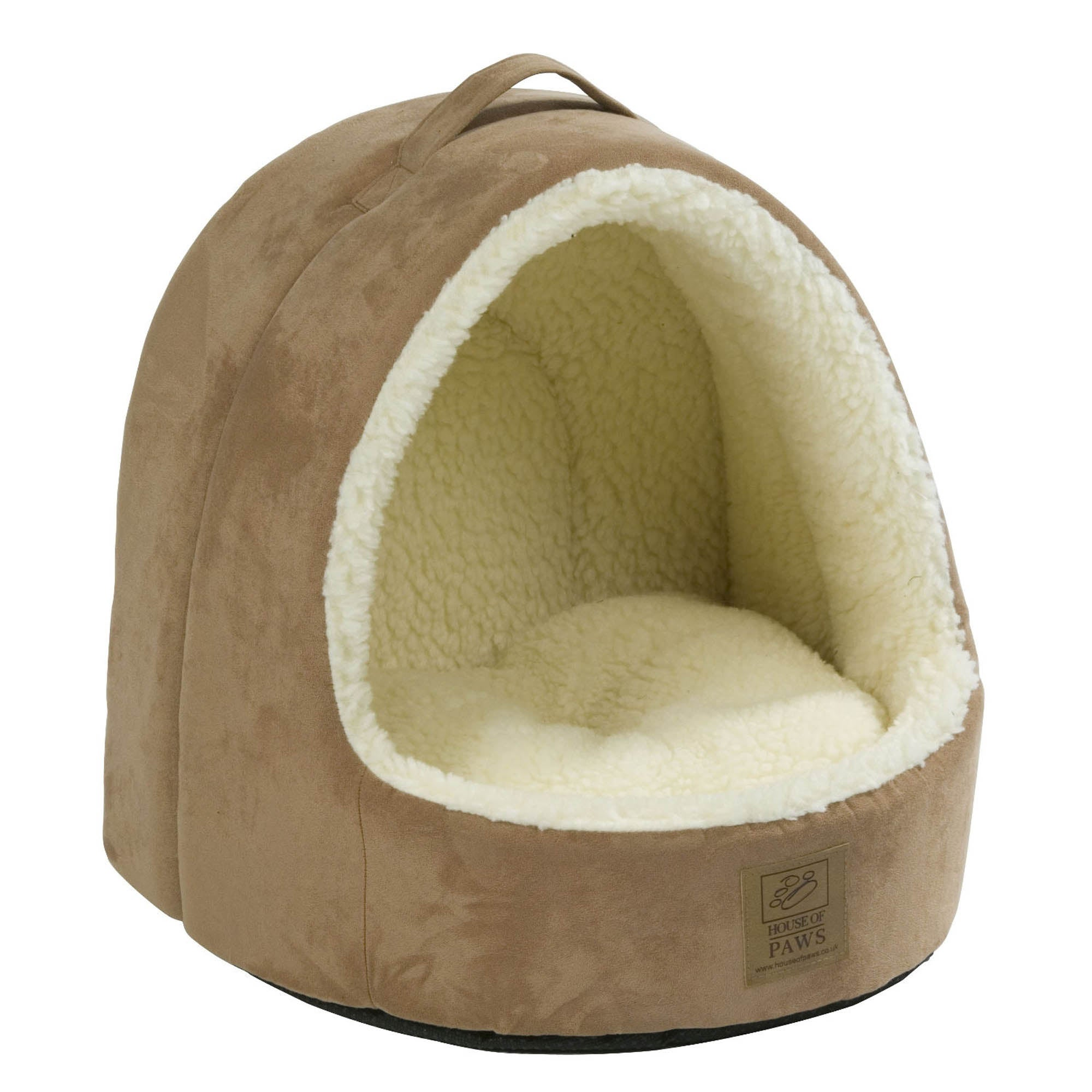 Tan Faux Suede and Sheepskin Cat Bed Brown