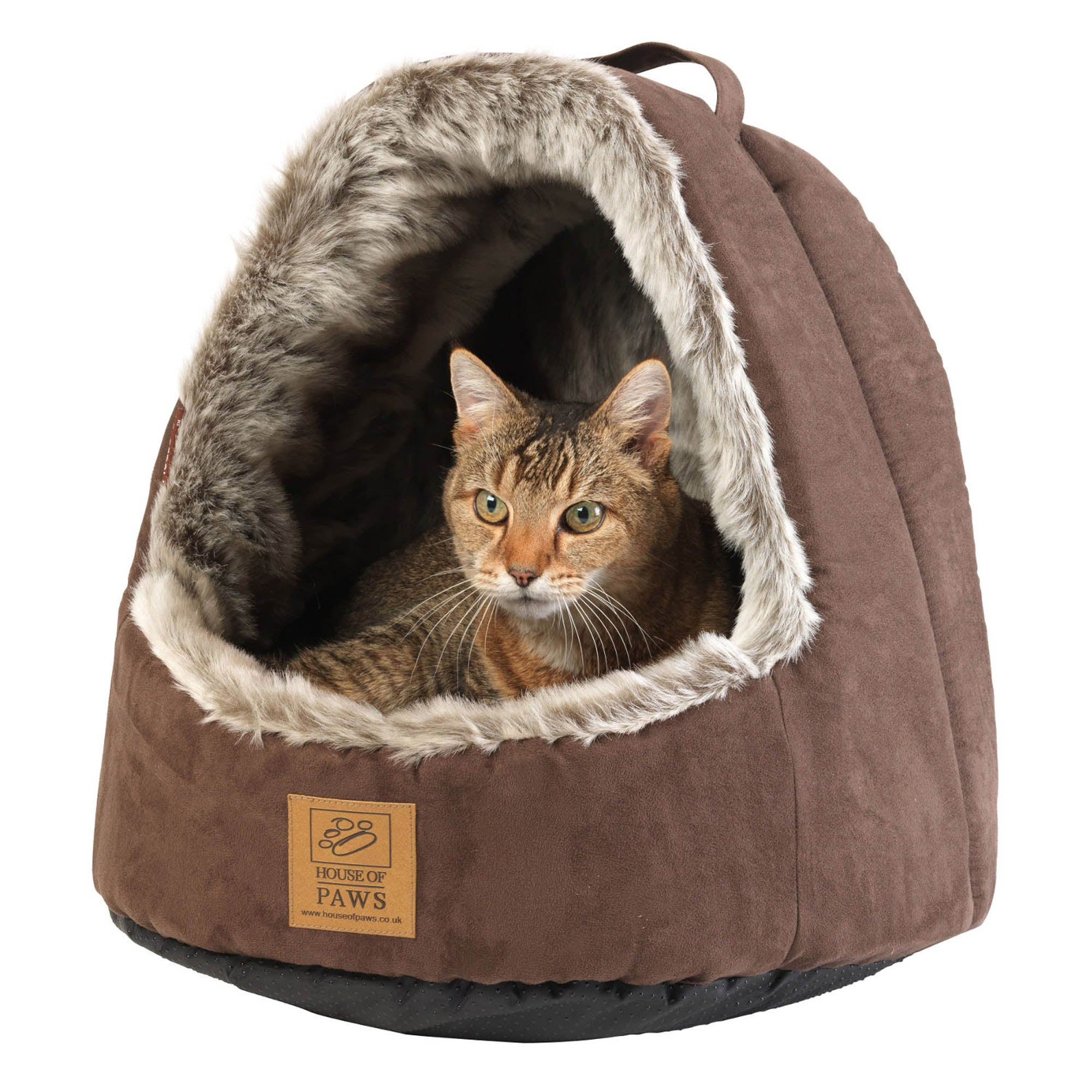 Arctic Fox Hooded Cat Bed Brown