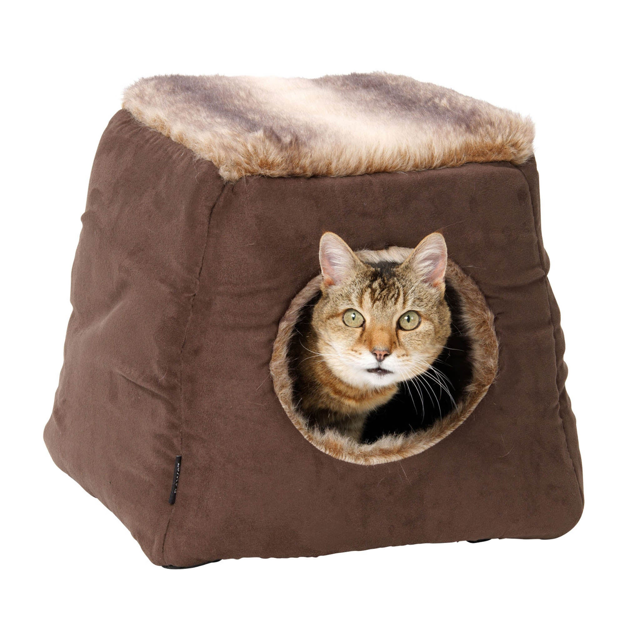 Coco Faux Suede Cat Bed Brown