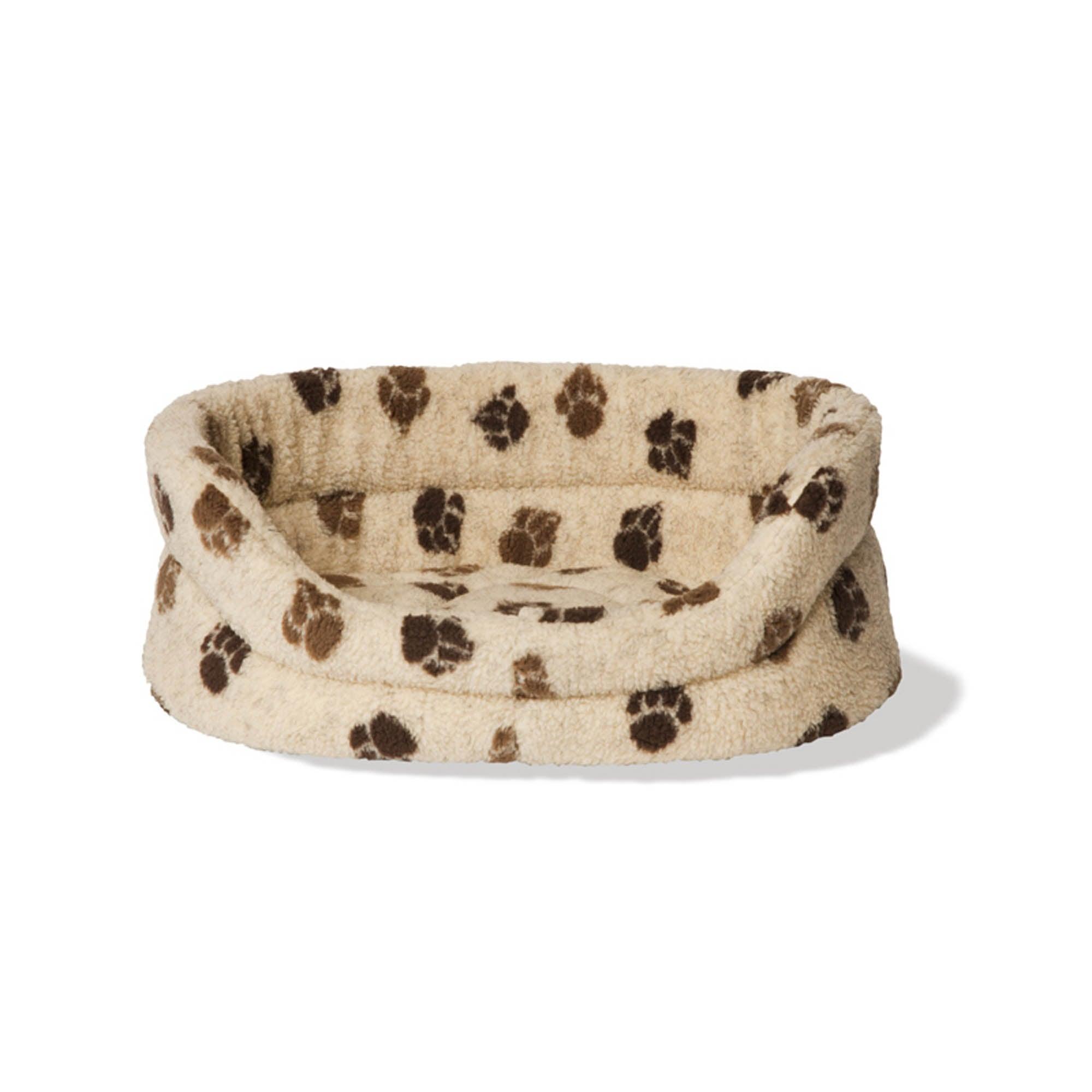 Cream Paw Print Dog Bed Cream / Brown