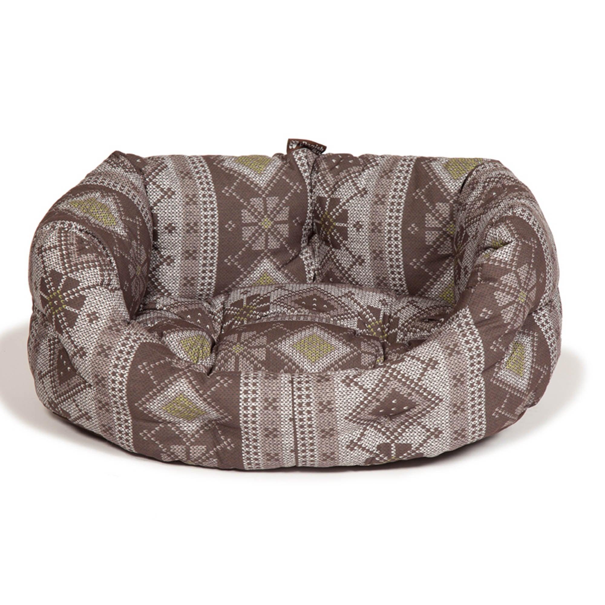 Fairisle Brown Deluxe Dog Bed Brown