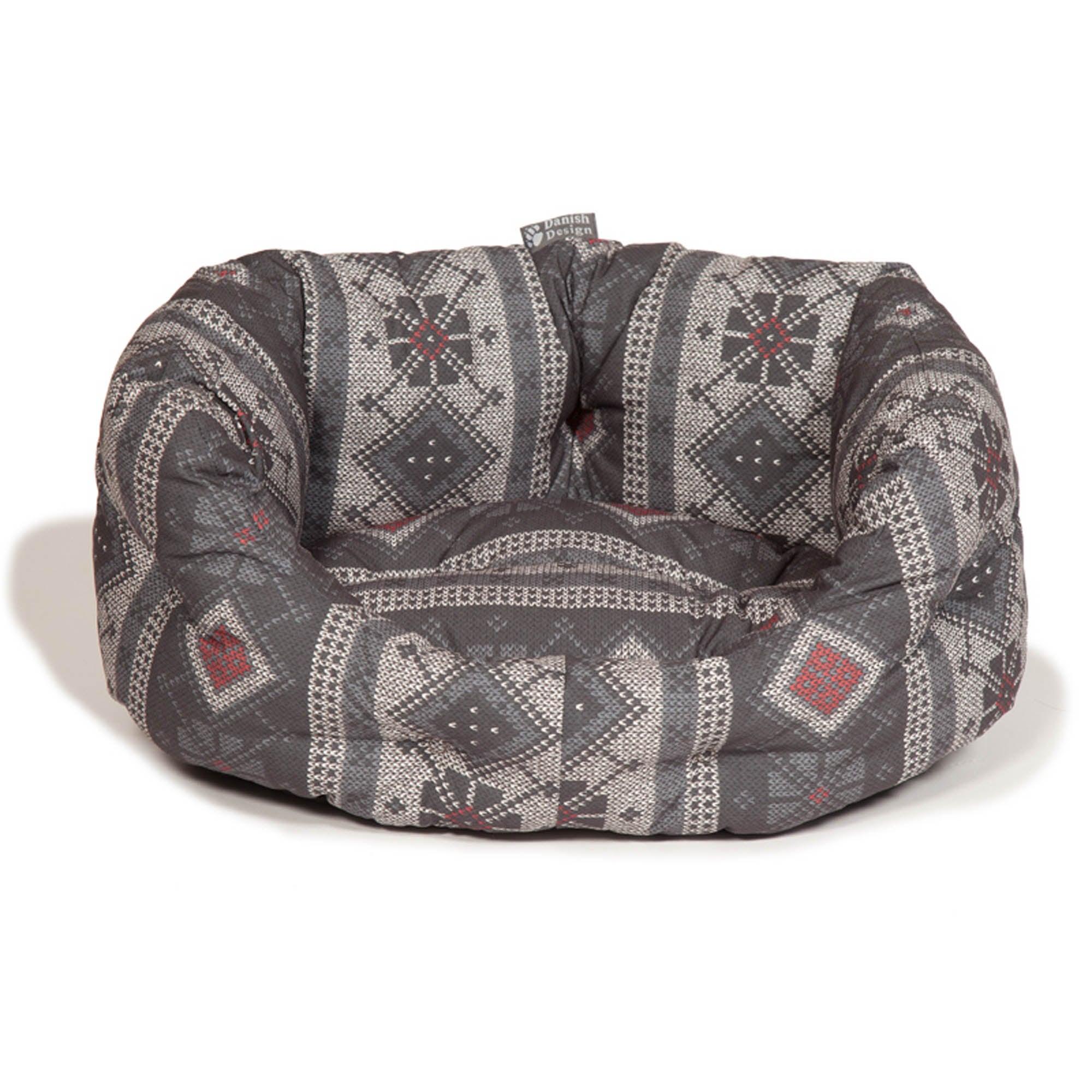 Fairisle Grey Deluxe Dog Bed Ash (Grey)