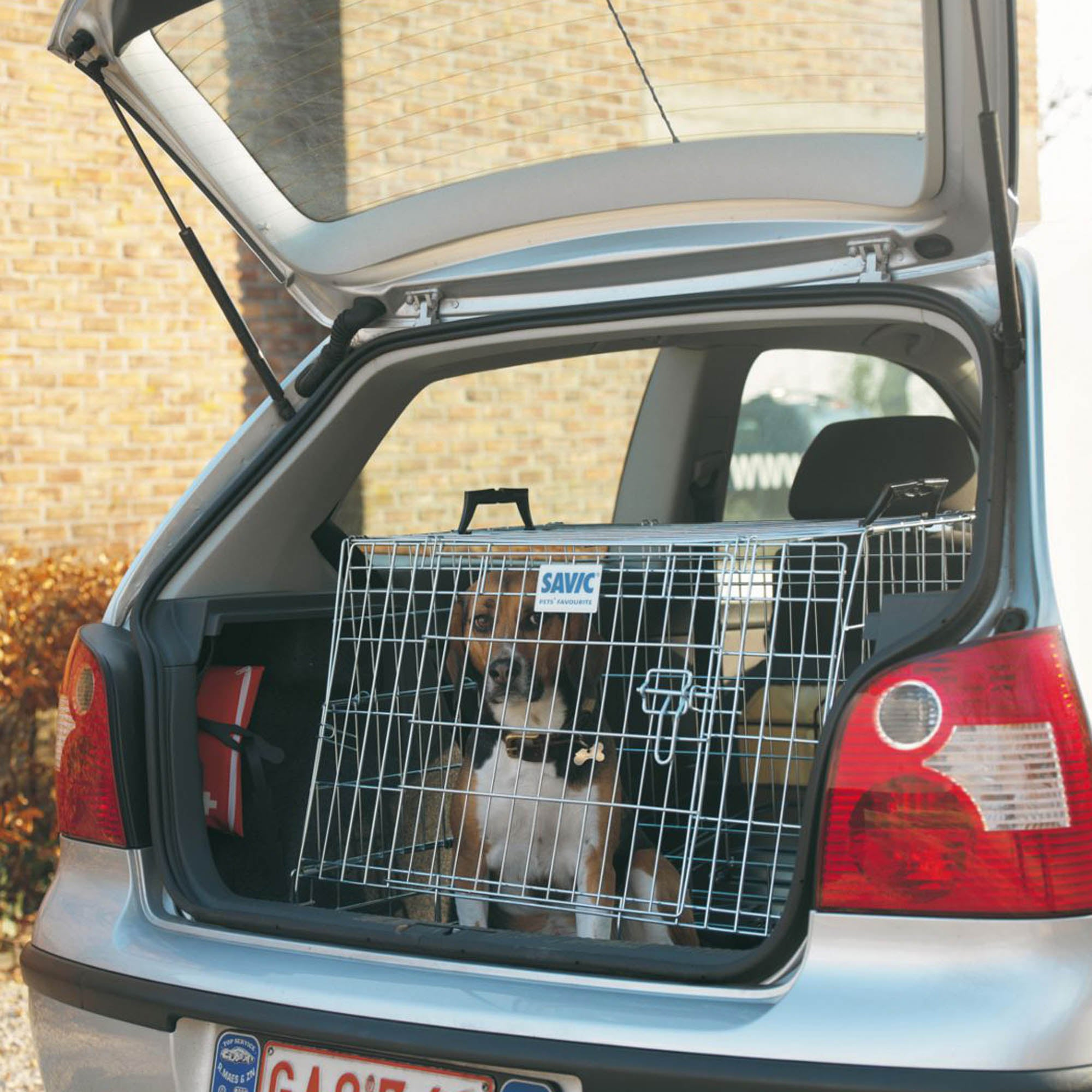 Wide Mobile Car Dog Crate Steel (Silver)