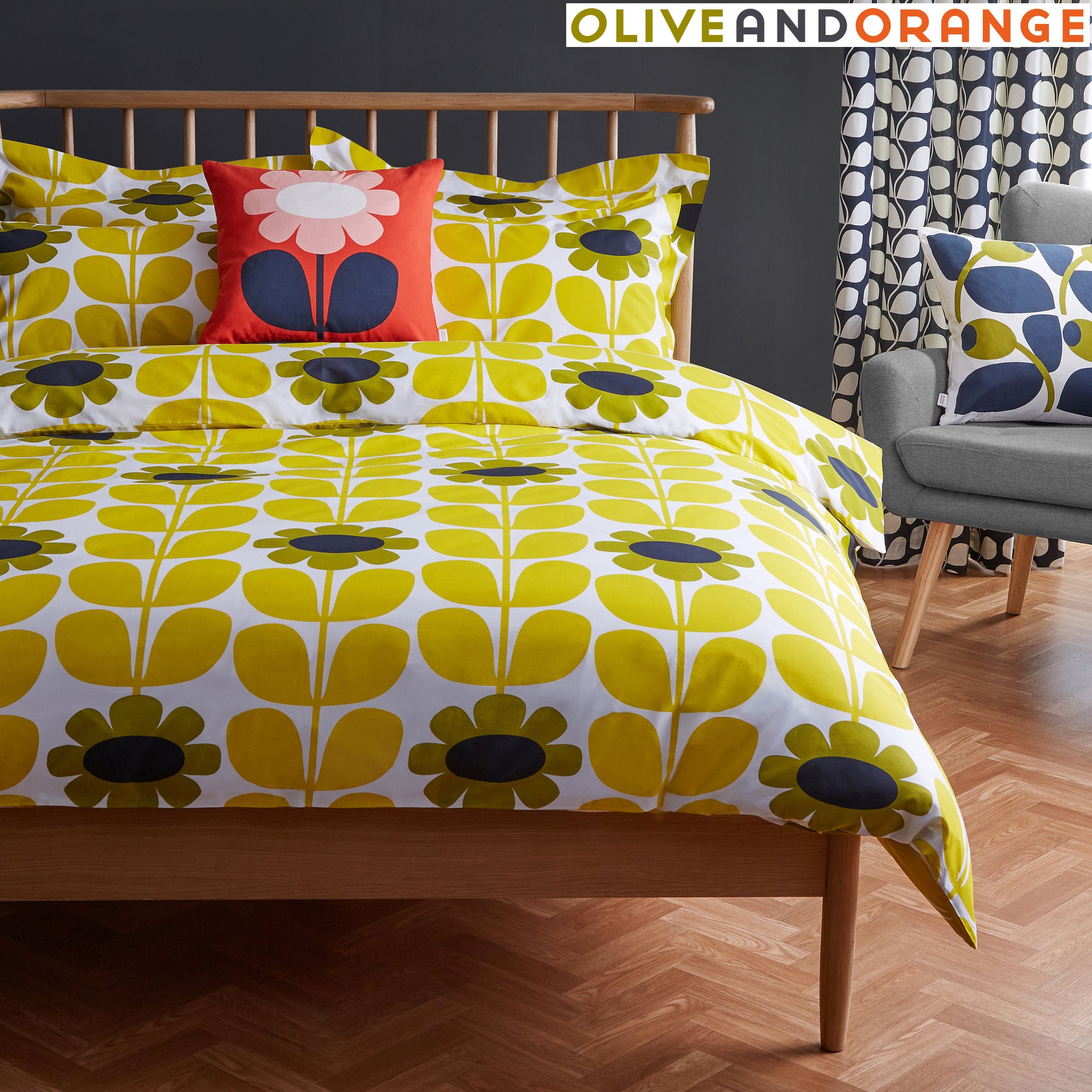 Image of Olive & Orange Tall Flower 100% Cotton Yellow Duvet Cover and Pillowcase Set Sunflower (Yellow)