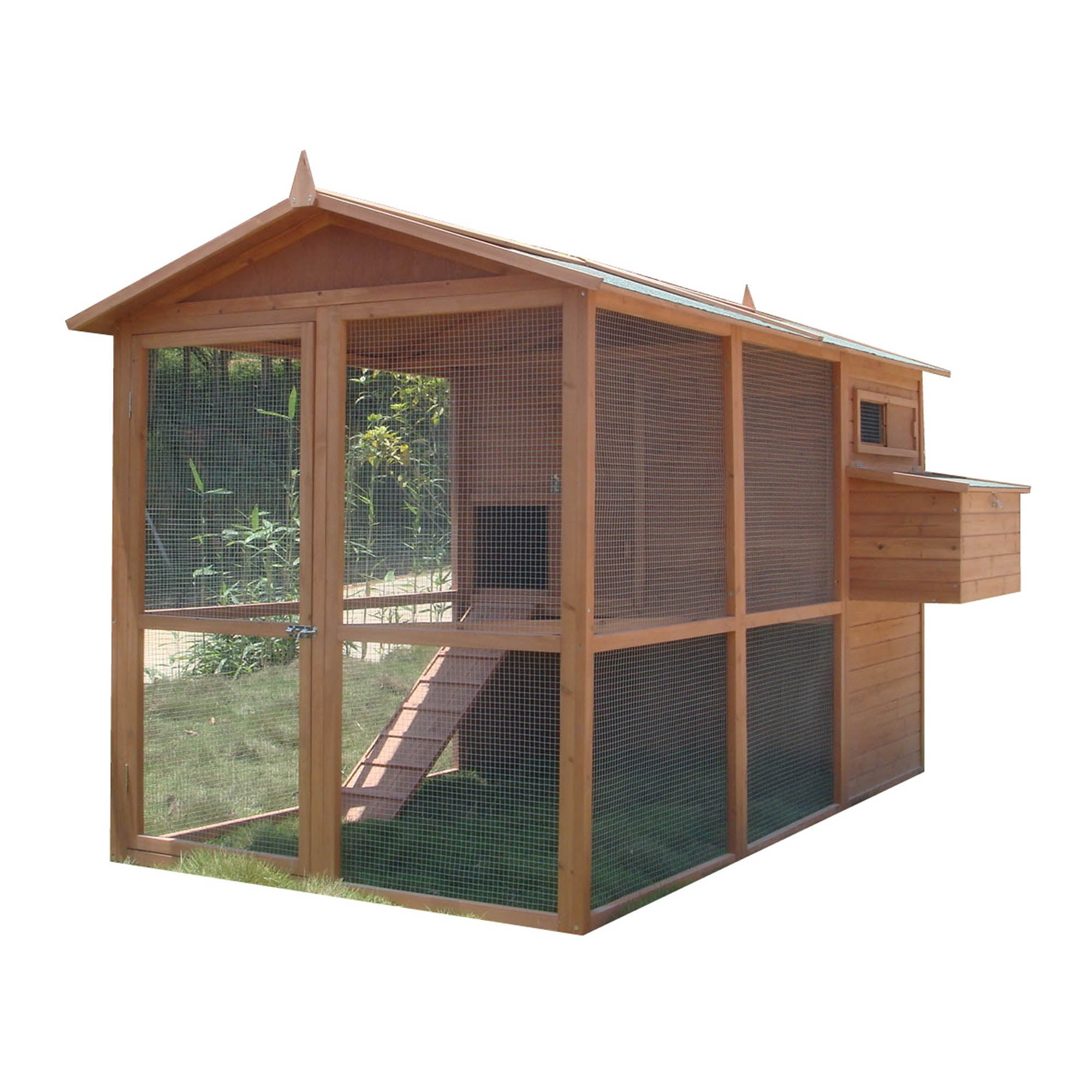 Limoges Large Chicken House and Run Pine (Brown)