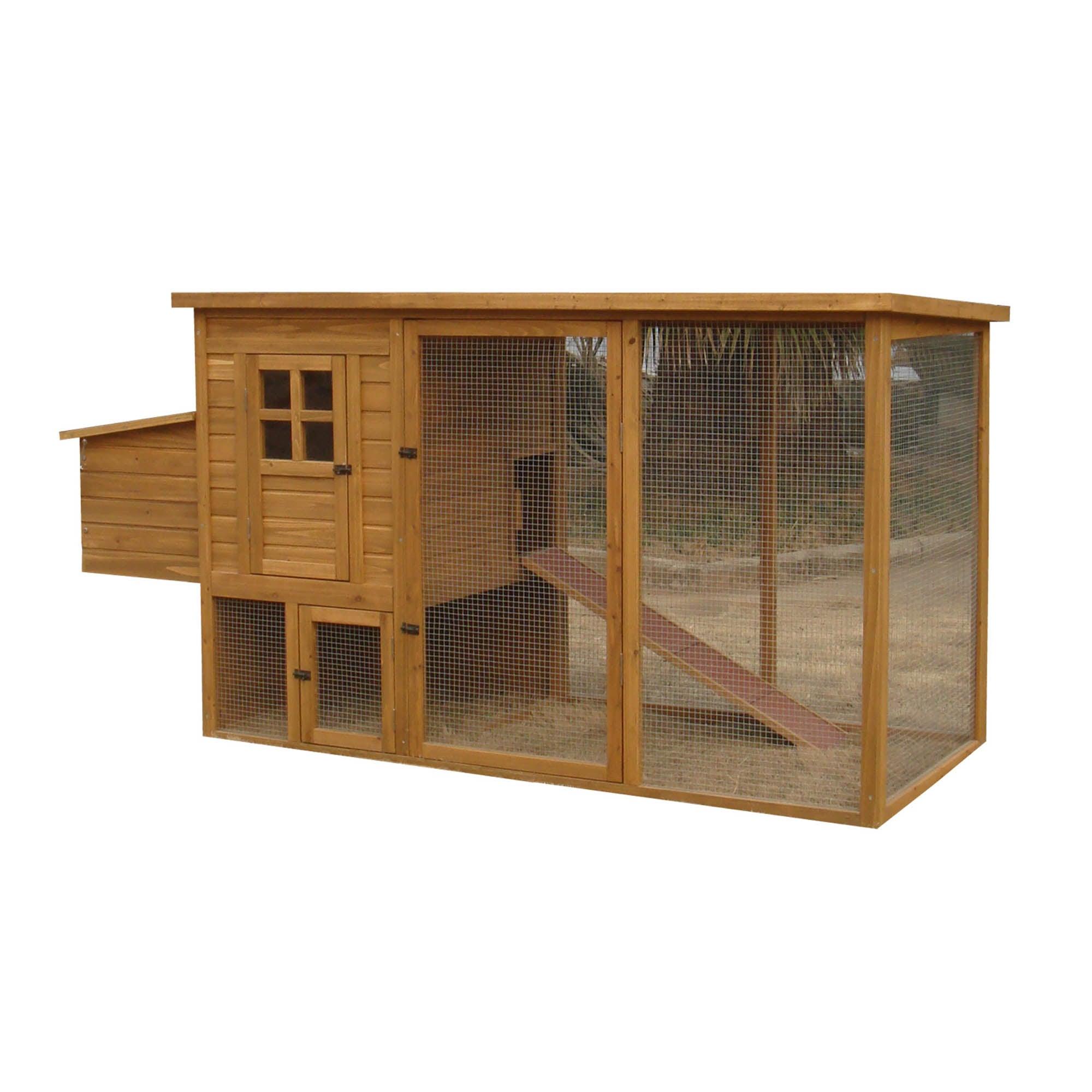 Medium Chicken Coop with Flat Roof Pine (Brown)