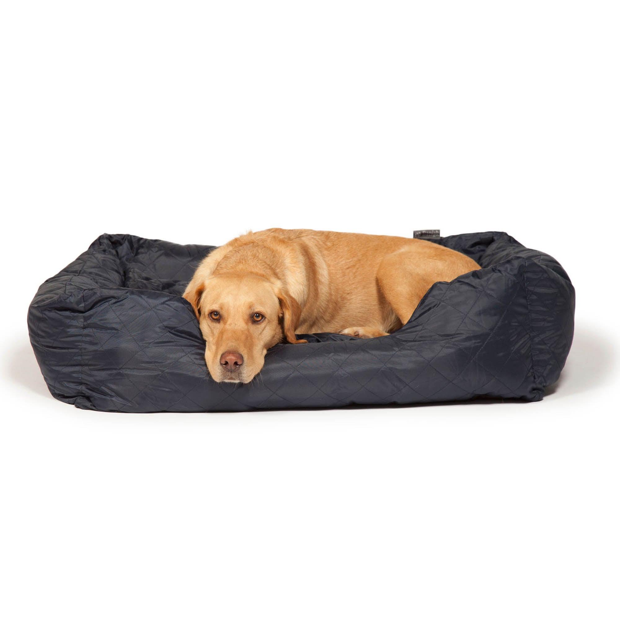 Blue Quilted Snuggle Dog Bed Indigo (Blue)