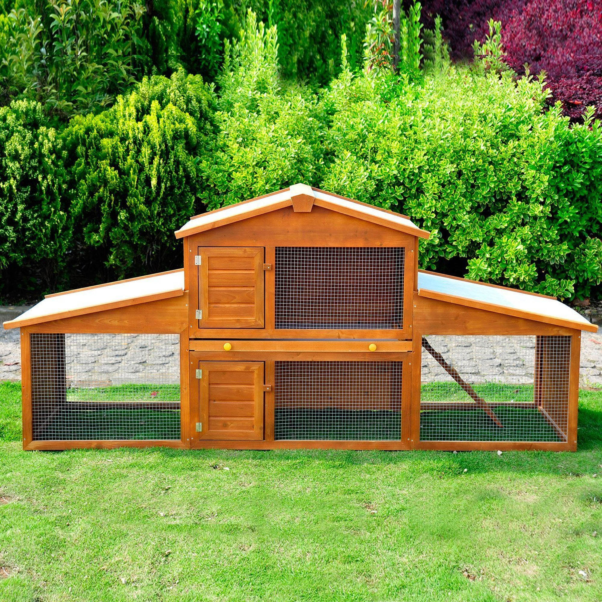 Large Wooden Rabbit Hutch with Run Walnut (Brown)