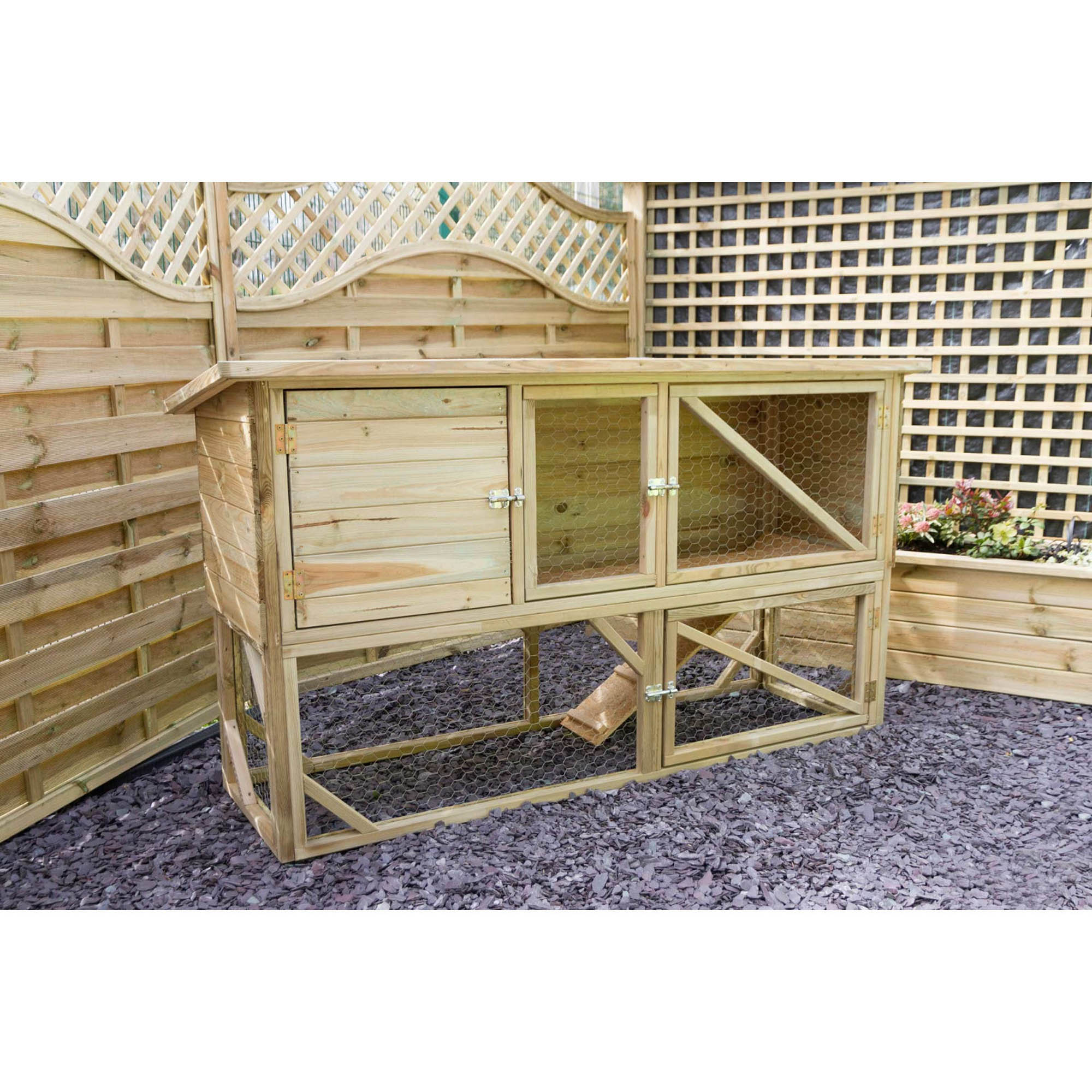 Rabbit and Guinea Pig Hutch and Run Sandstone (Brown)