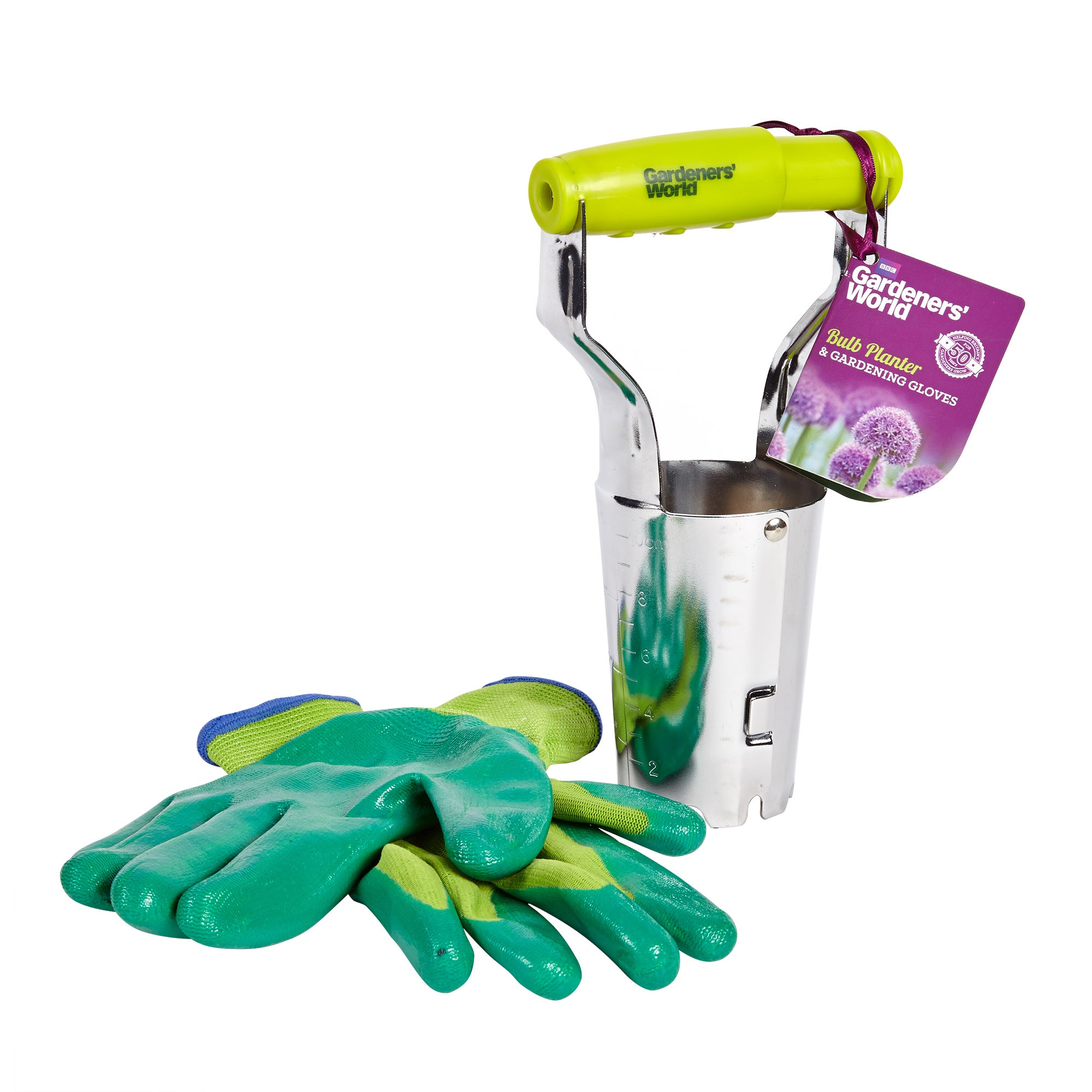 Image of BBC Gardeners' World Bulb Planter & Gardening Gloves Green