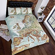 rapport home vintage maps duvet cover and pillowcase set