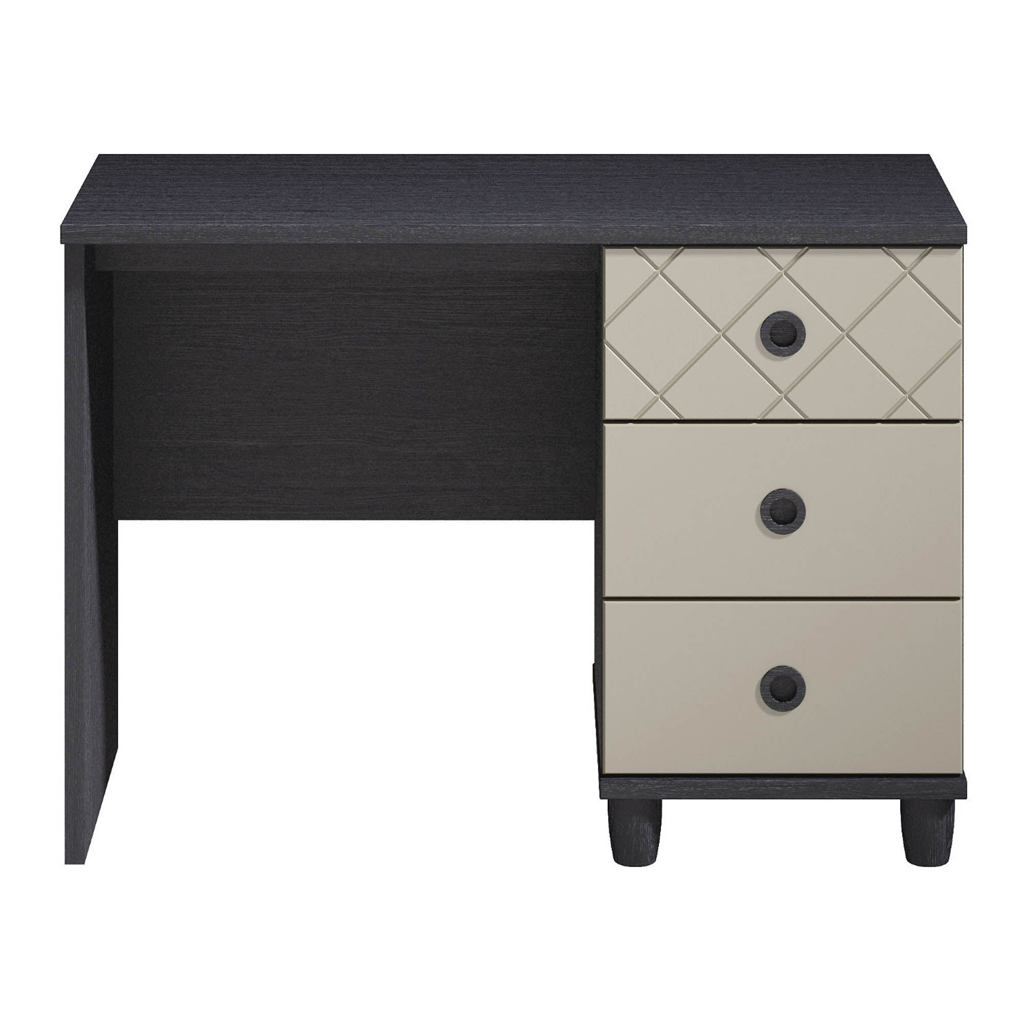 Photo of Thea single pedestal black dressing table smoke -grey-