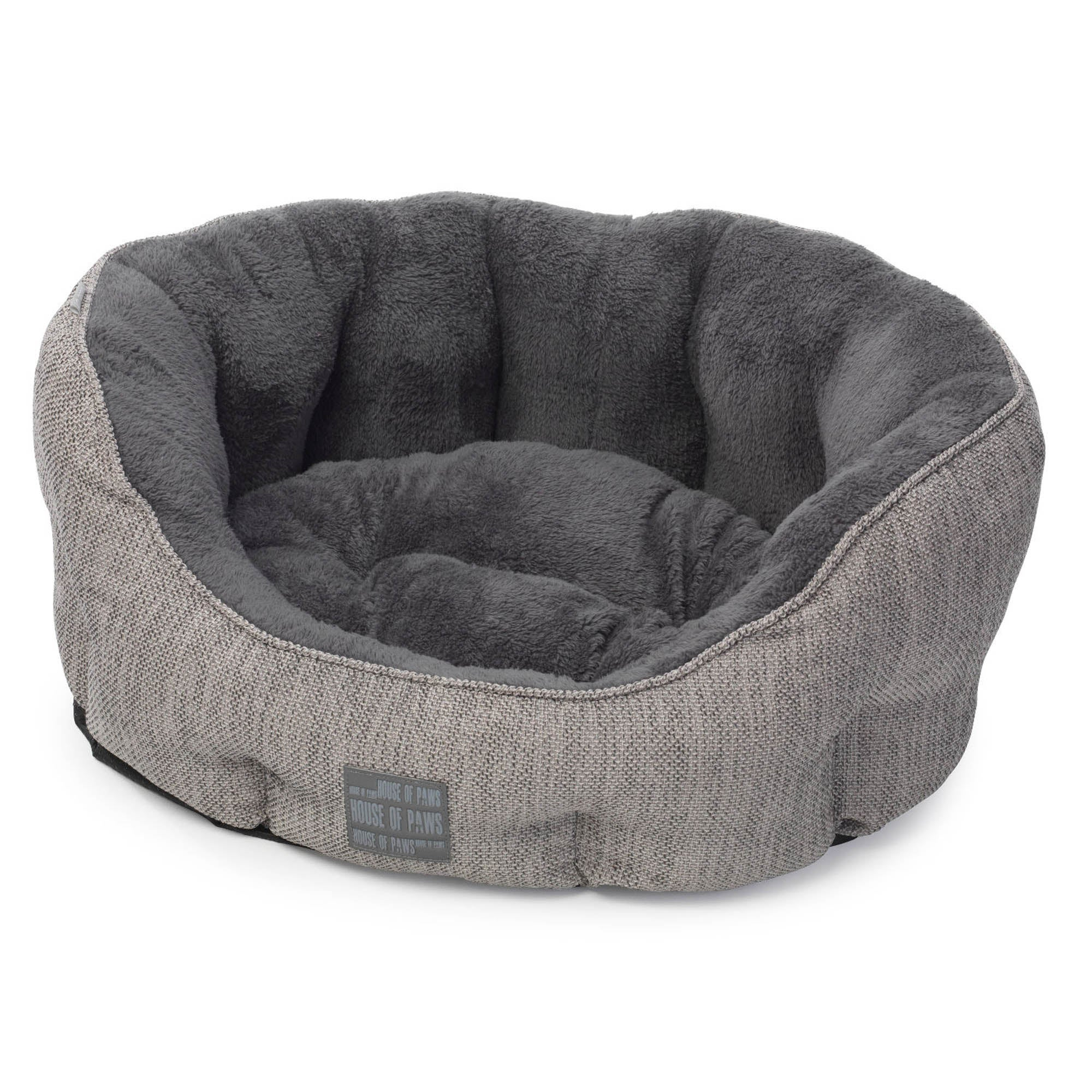 House of Paws Grey Hessian Dog Bed Ash (Grey)