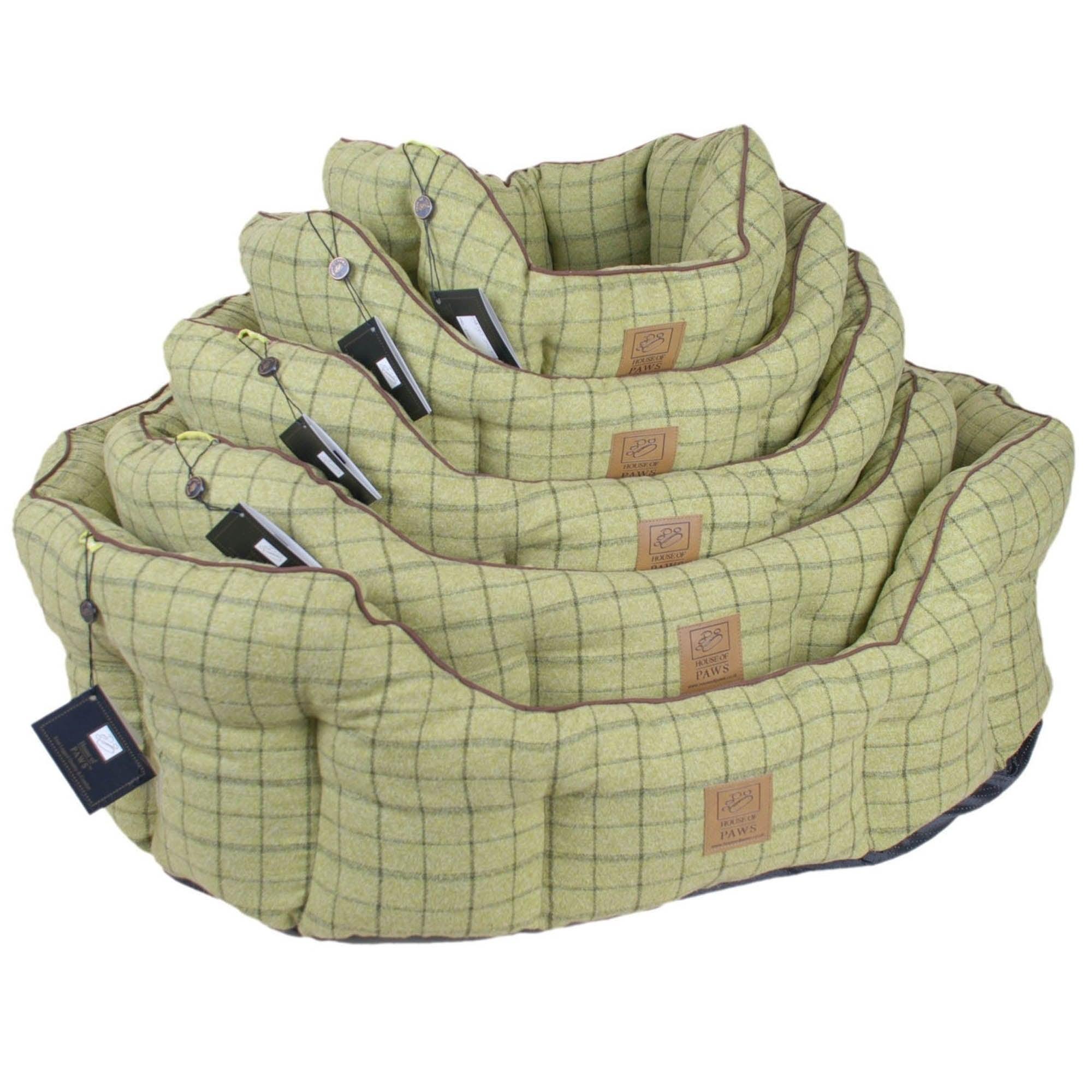 Green Tweed Oval Snuggle Bed Green