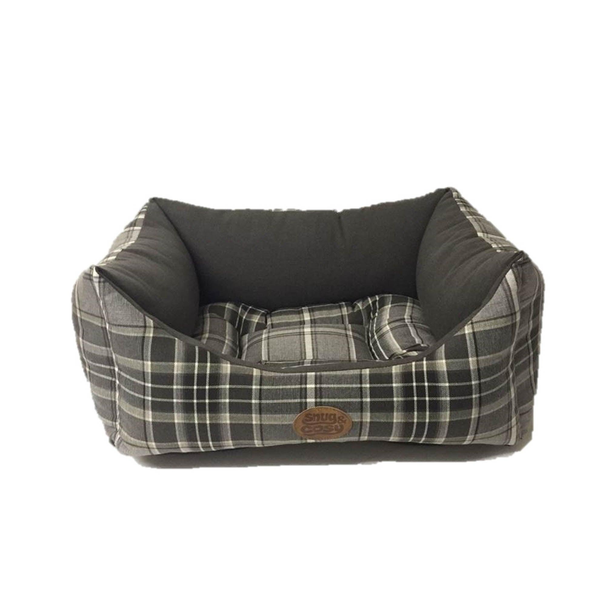 Kensington Grey Check Dog Bed Black