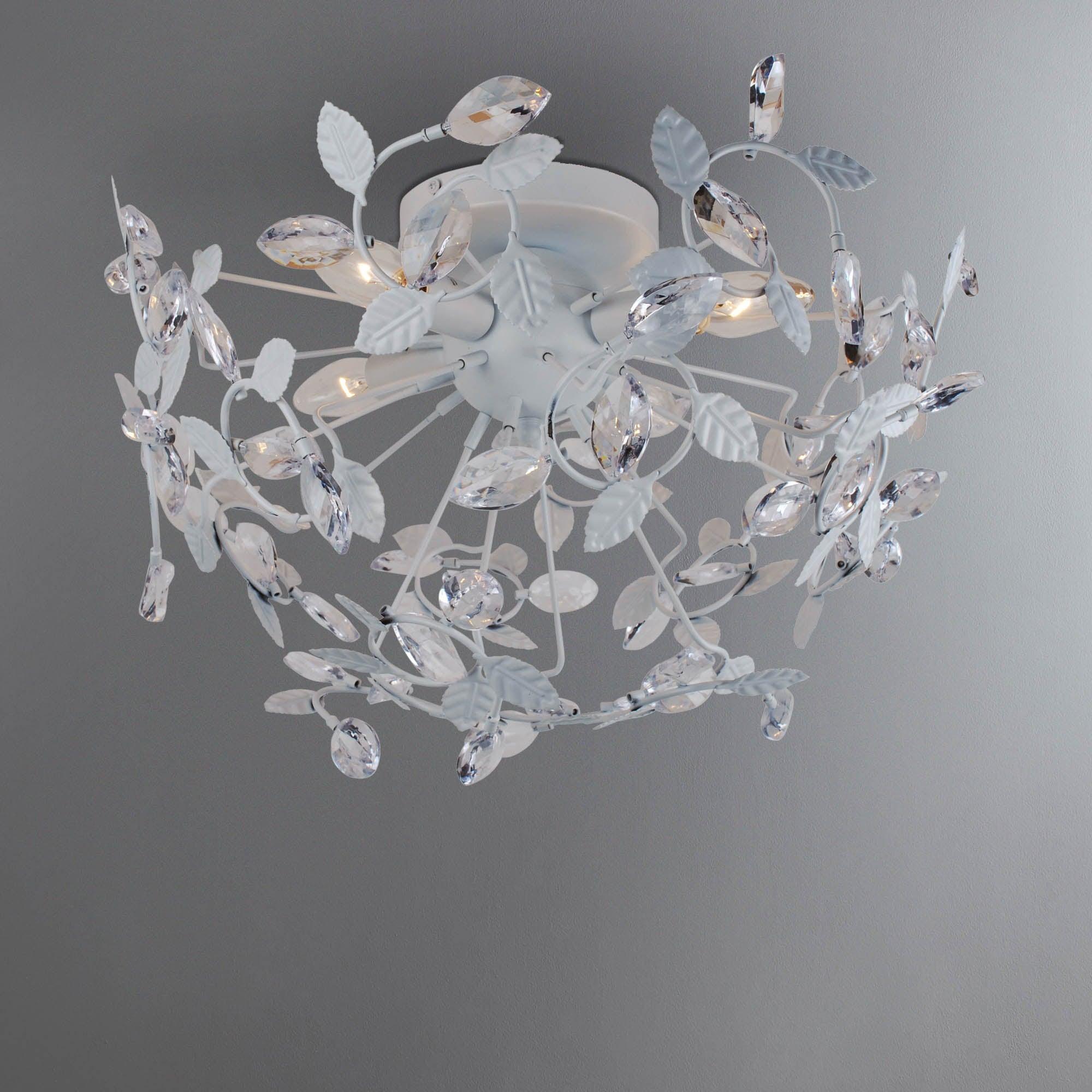 Photo of Kassel white leaf 4 light flush fitting white