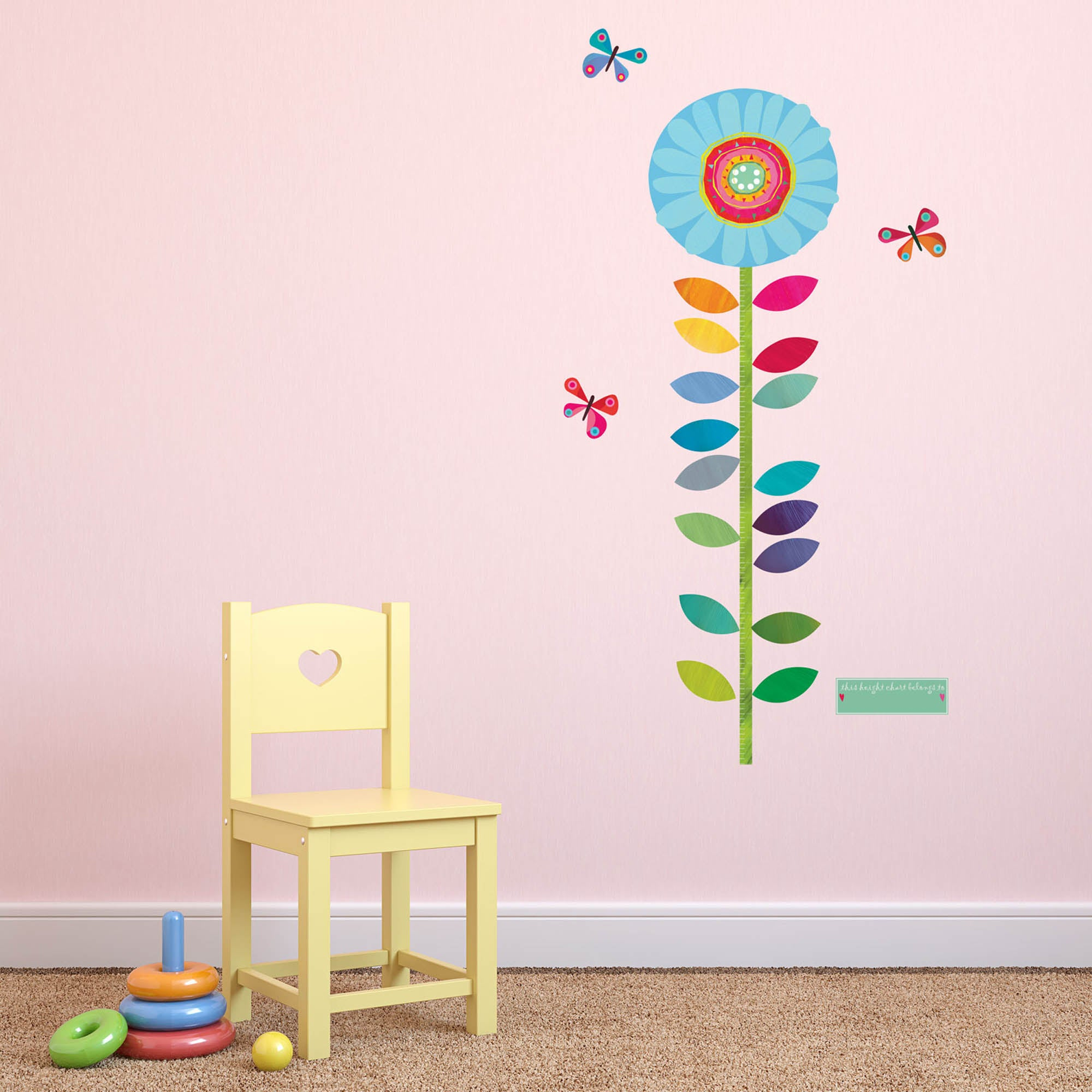 Image of Stickerscape Flower Height Chart Wall Sticker MultiColoured